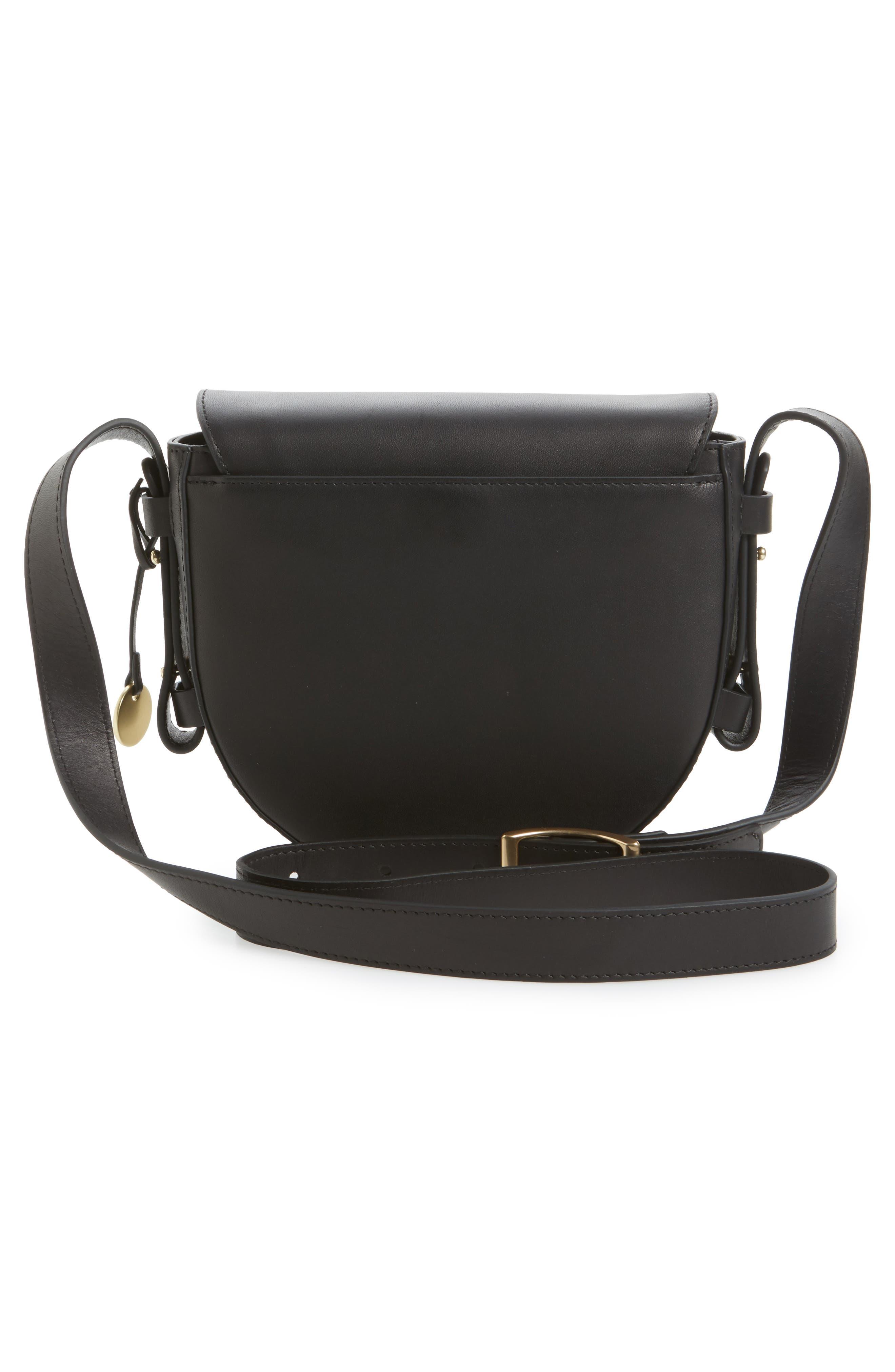 Lobelle Leather Saddle Bag,                             Alternate thumbnail 3, color,                             001