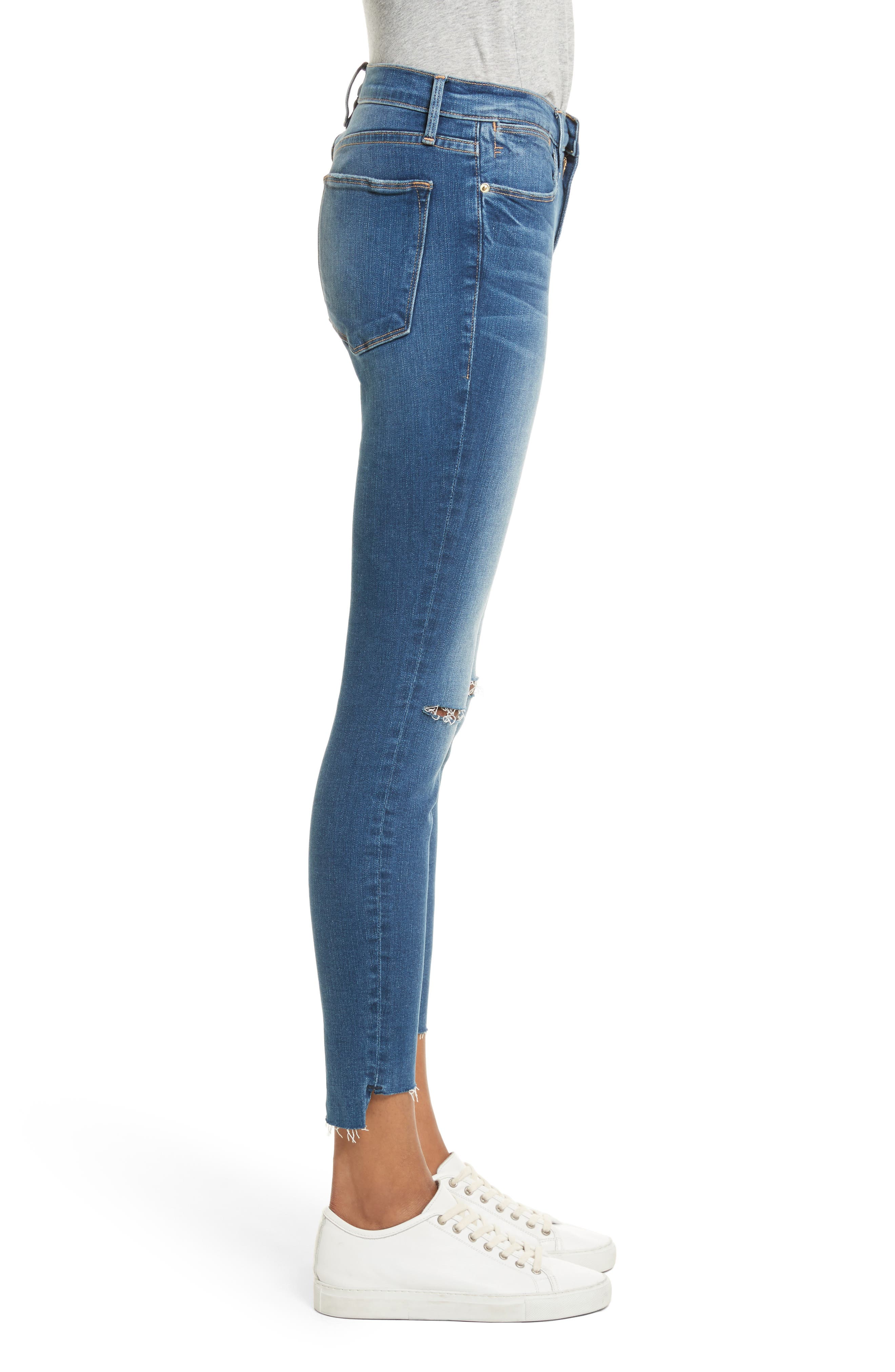 Le High High Waist Ankle Skinny Jeans,                             Alternate thumbnail 3, color,                             420
