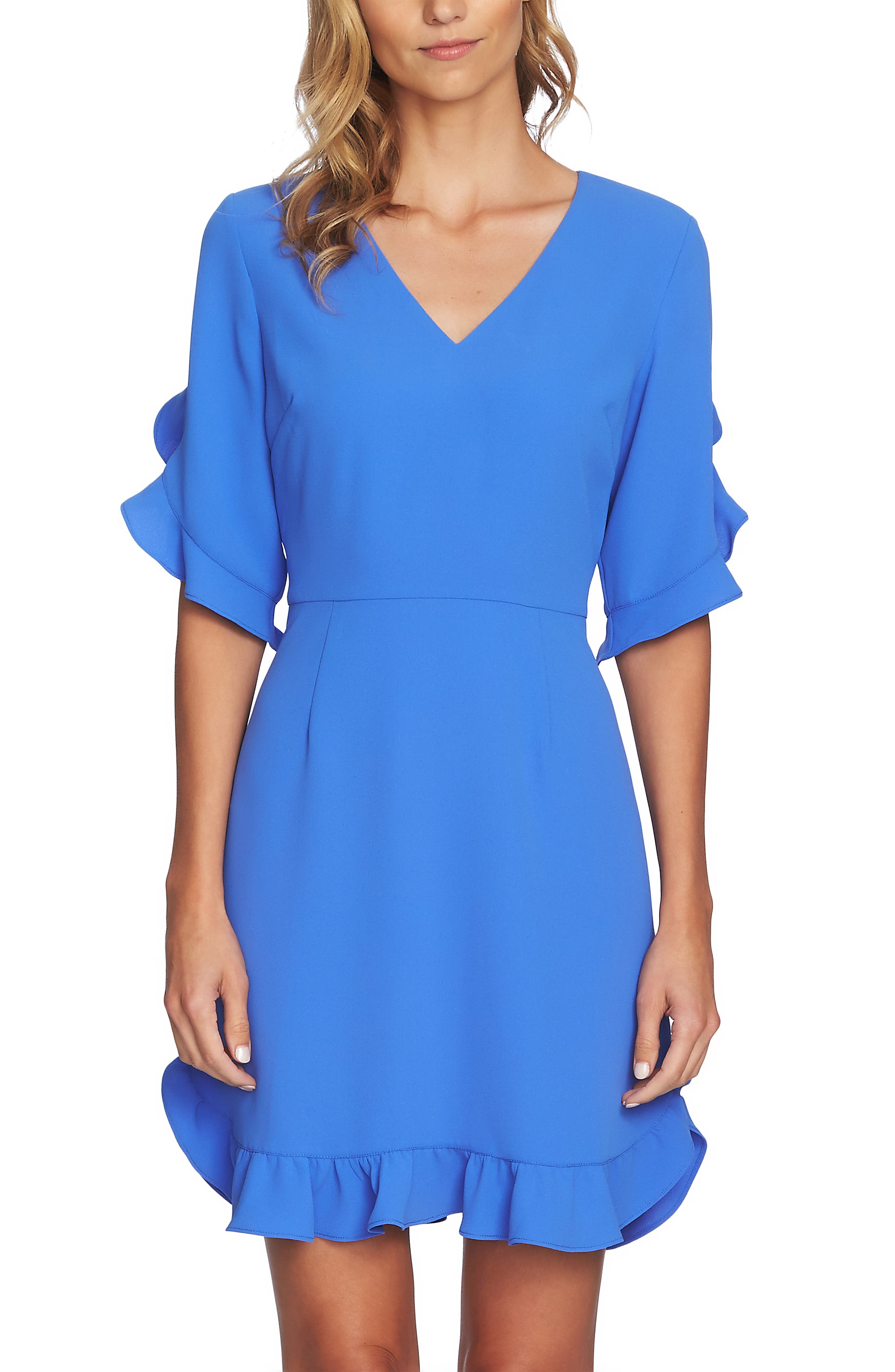 Cece Ruffle V-Neck A-Line Dress, Blue