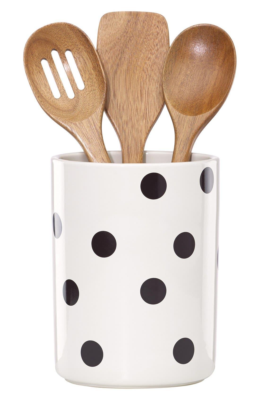 'all in good taste' 'deco' utensil crock & wooden spoons,                         Main,                         color, 100