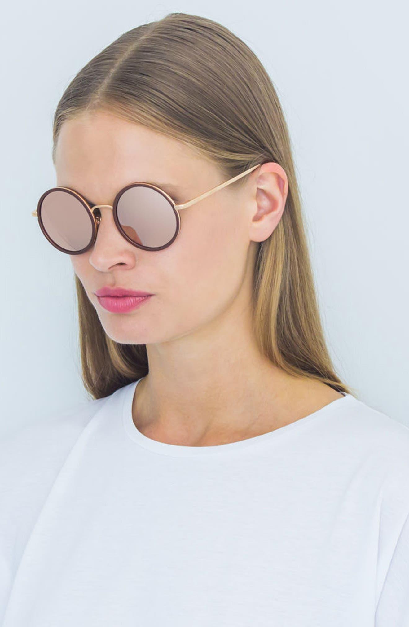 52mm Round 18 Karat Rose Gold Trim Sunglasses,                             Alternate thumbnail 3, color,                             221