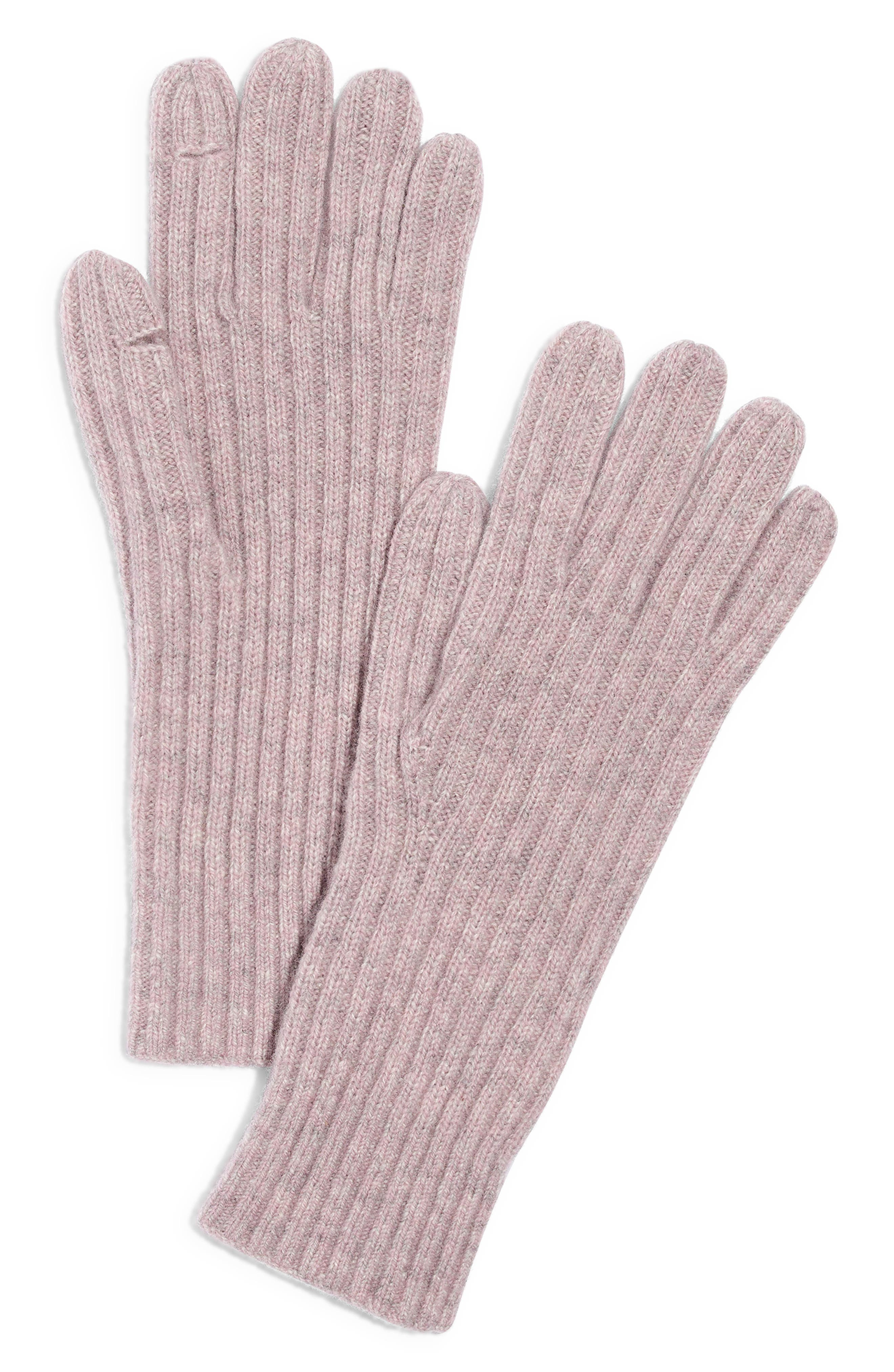Ribbed Texting Gloves, Main, color, WISTERIA DOVE
