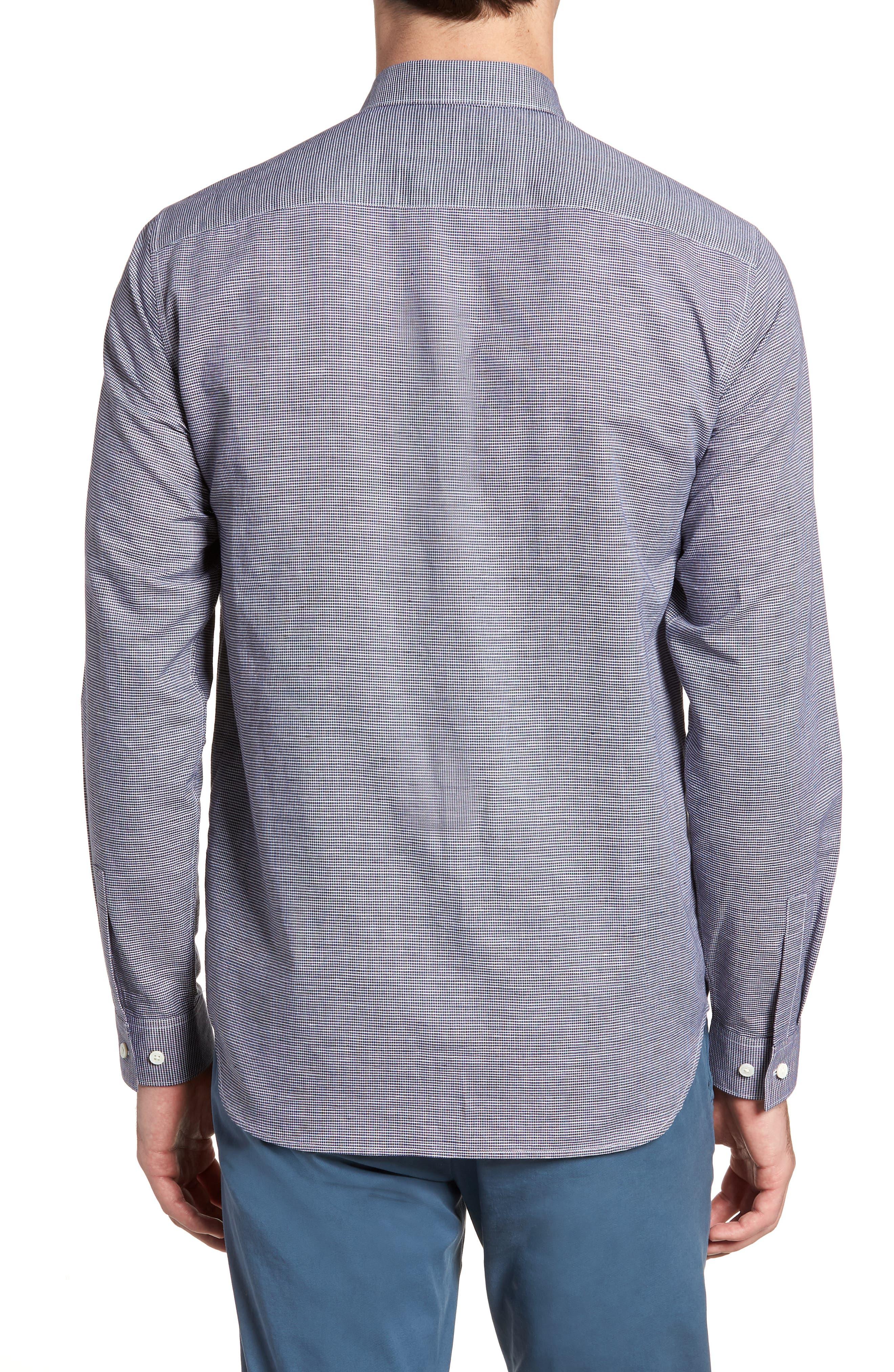 Murrary Trim Fit Check Linen & Cotton Sport Shirt,                             Alternate thumbnail 2, color,                             400