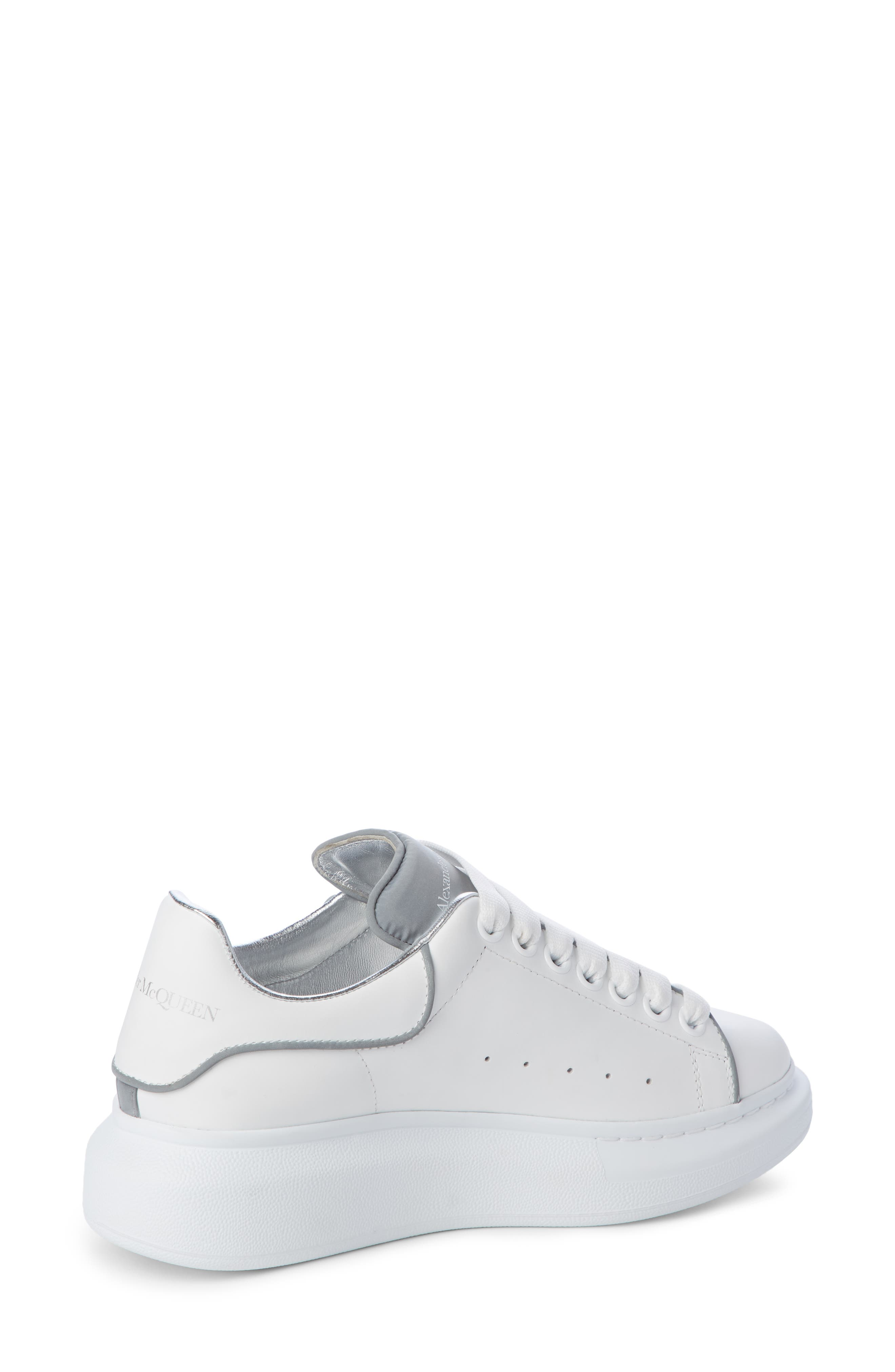 ALEXANDER MCQUEEN,                             Sneaker,                             Alternate thumbnail 2, color,                             WHITE/ SILVER PIPING