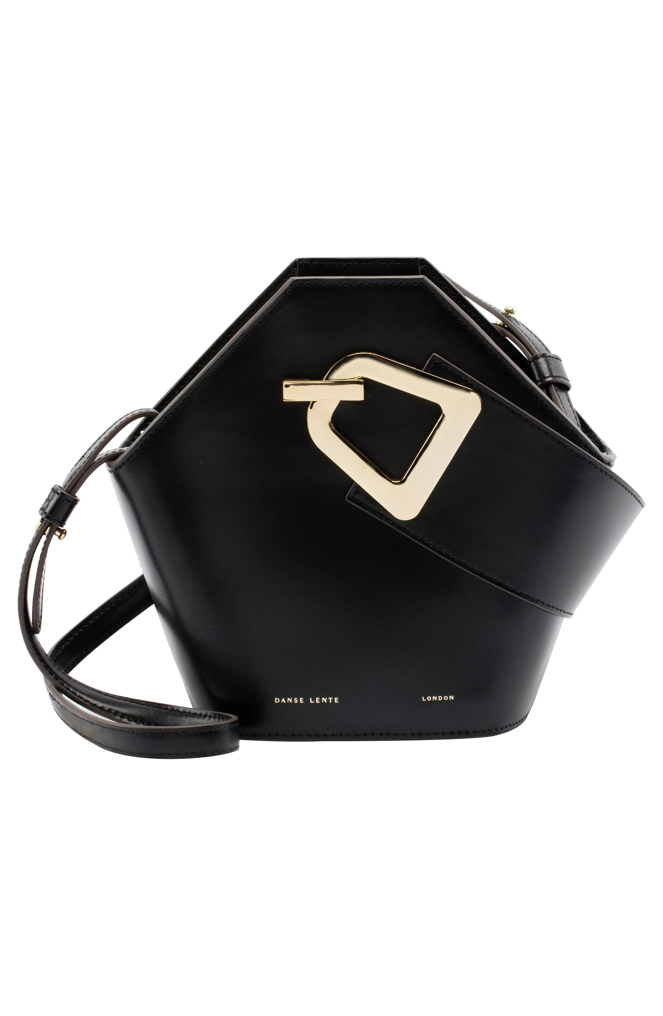 Mini Johnny Leather Bucket Bag,                             Alternate thumbnail 3, color,                             BLACK