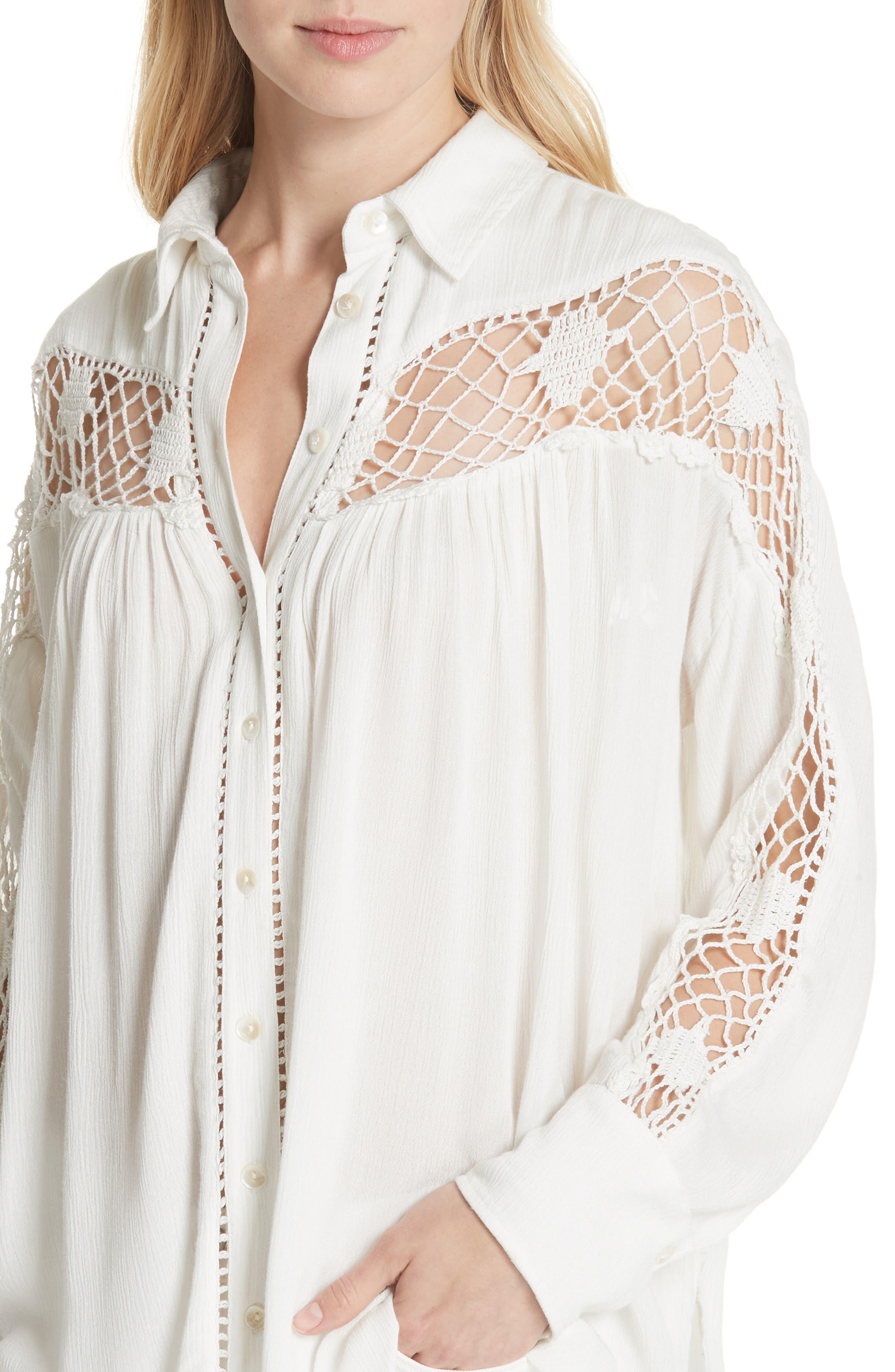 Katie Bird Crochet Inset Shirt,                             Alternate thumbnail 14, color,