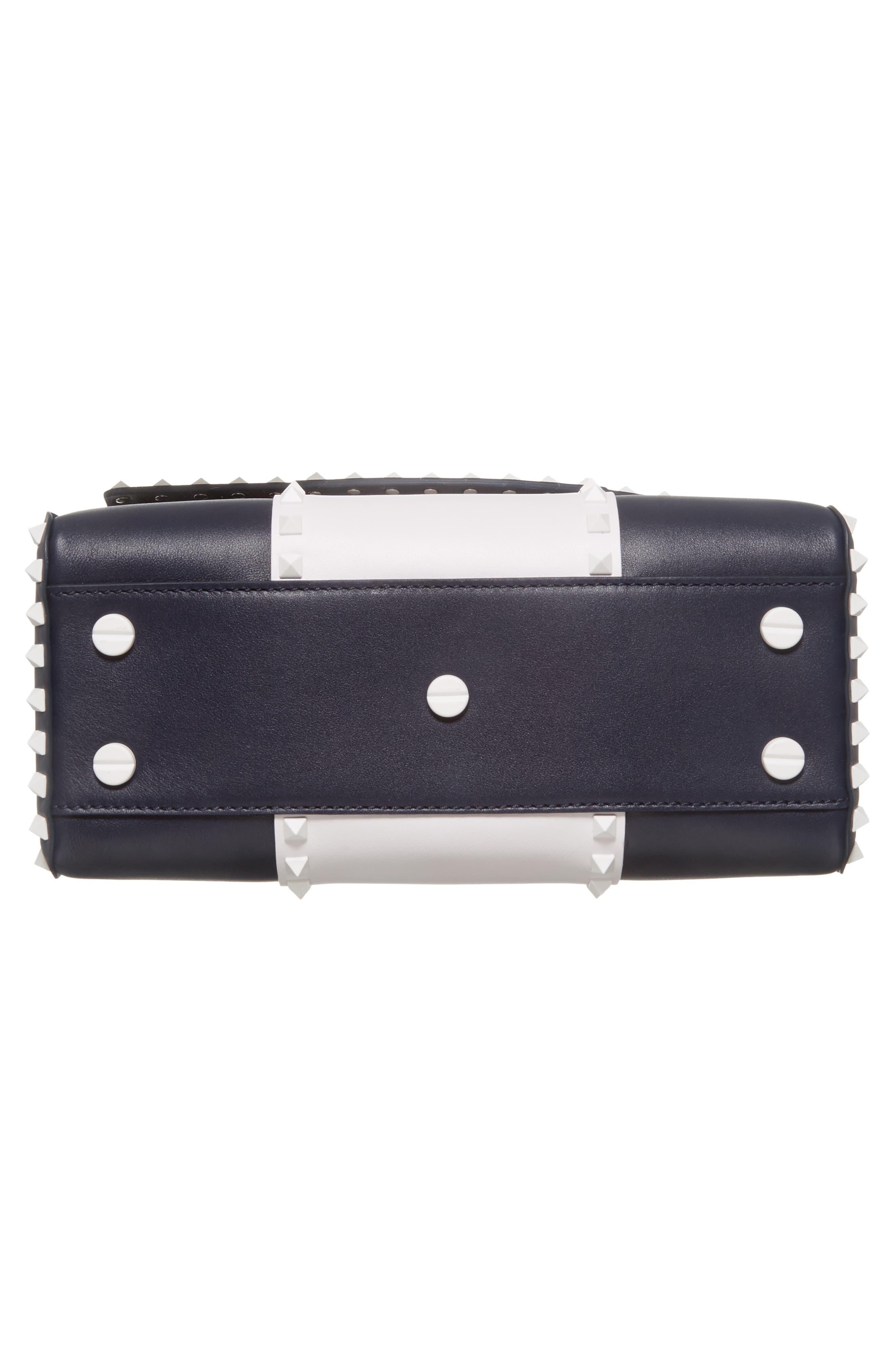 Rockstud Calfskin Top Handle Bag,                             Alternate thumbnail 6, color,                             400
