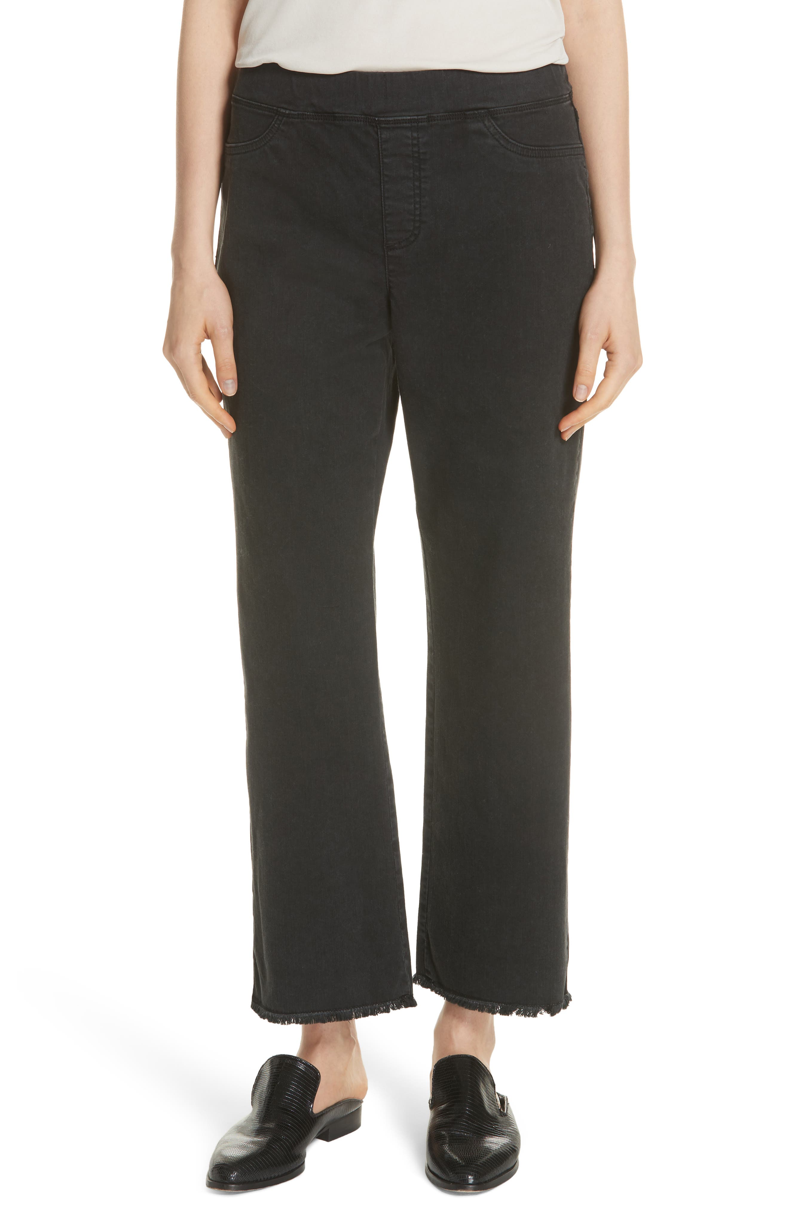 Frayed Hem Pull-On Ankle Jeans,                             Main thumbnail 1, color,                             WASHED BLACK