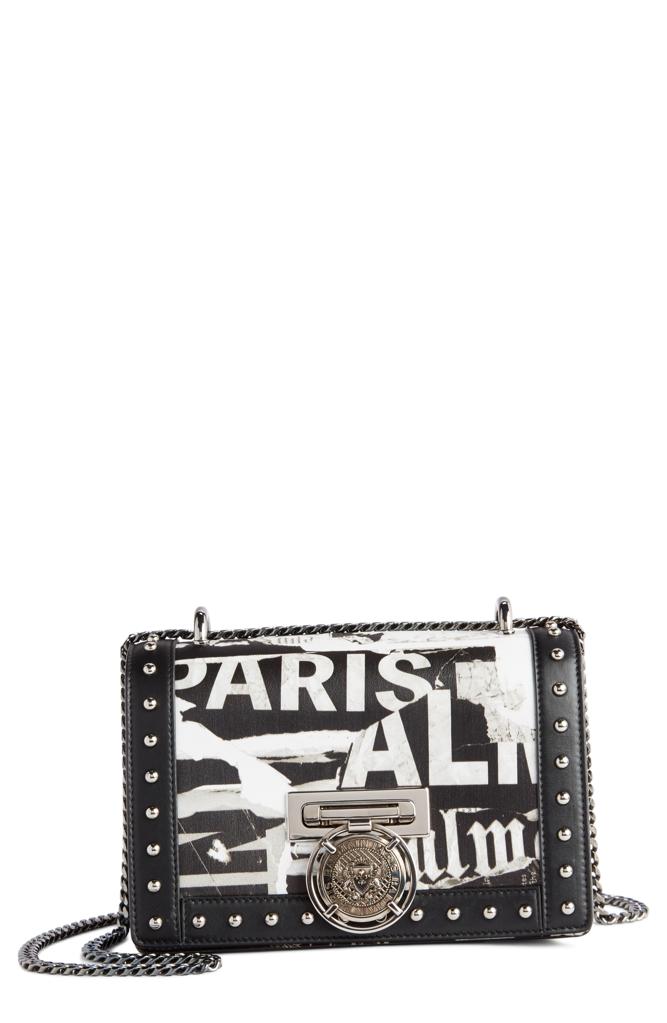 Domaine Logo Print Leather Crossbody Bag,                         Main,                         color, 001