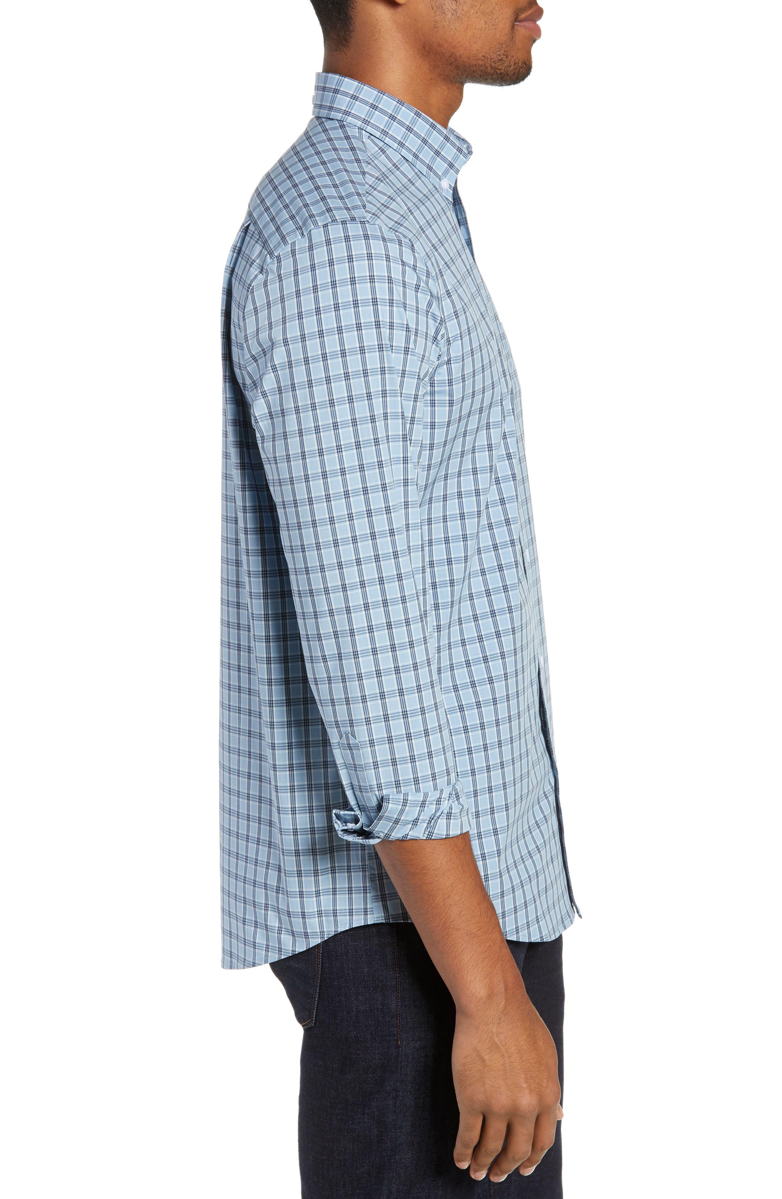 Tech-Smart Slim Fit Plaid Sport Shirt,                             Alternate thumbnail 4, color,                             BLUE HEAVEN HEATHER CHECK