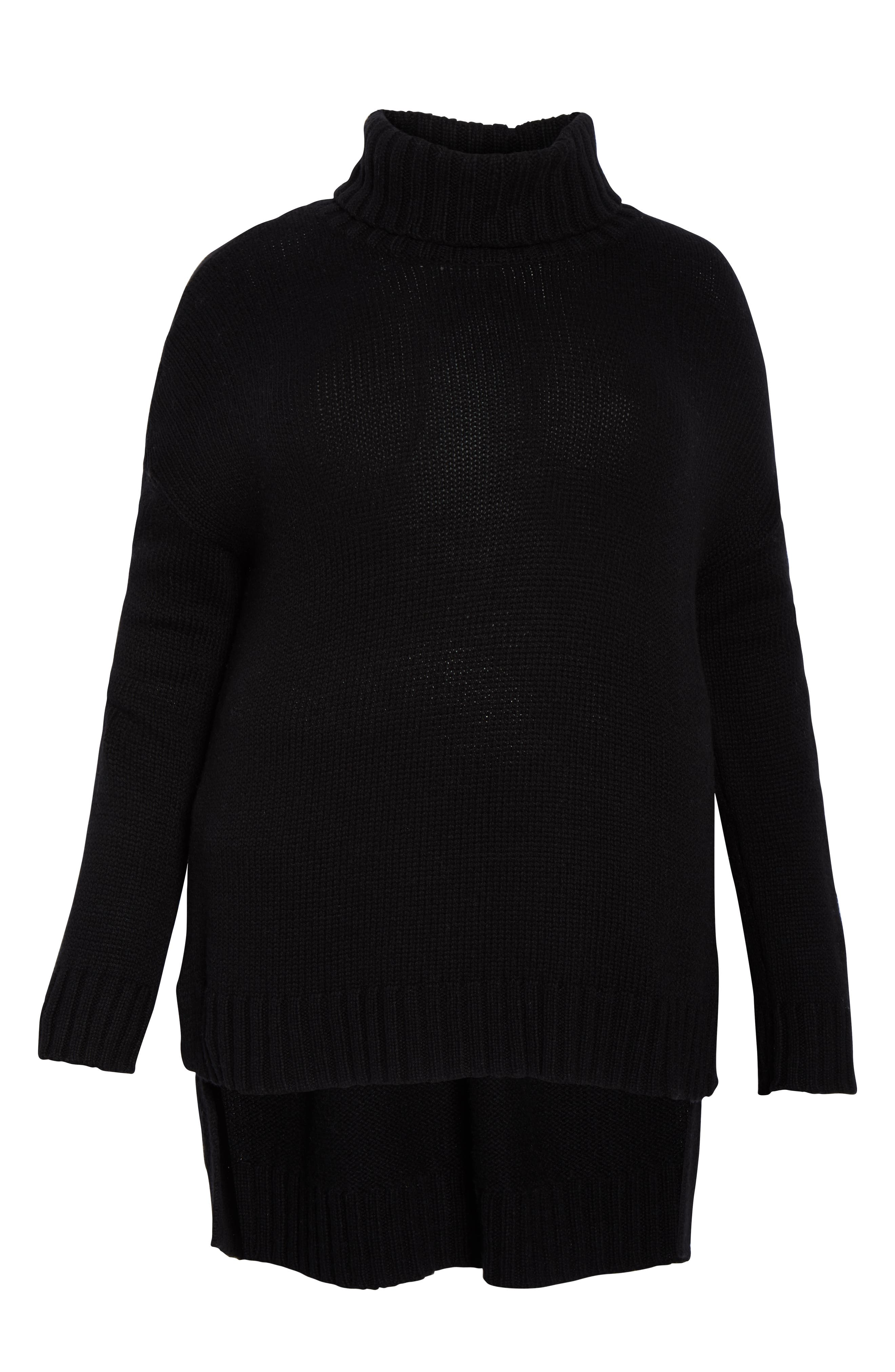 High/Low Turtleneck Sweater,                             Alternate thumbnail 6, color,                             BLACK