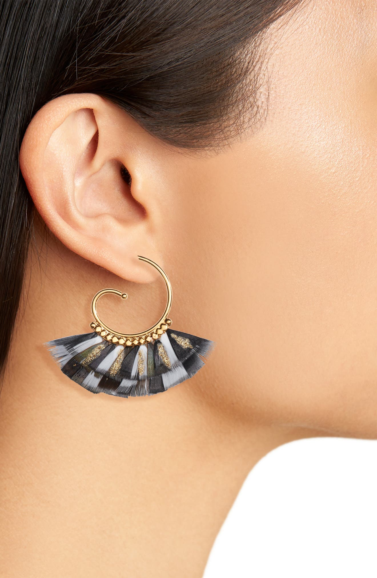 Small Buzios Feather Earrings,                             Alternate thumbnail 2, color,                             BLACK/ GOLD