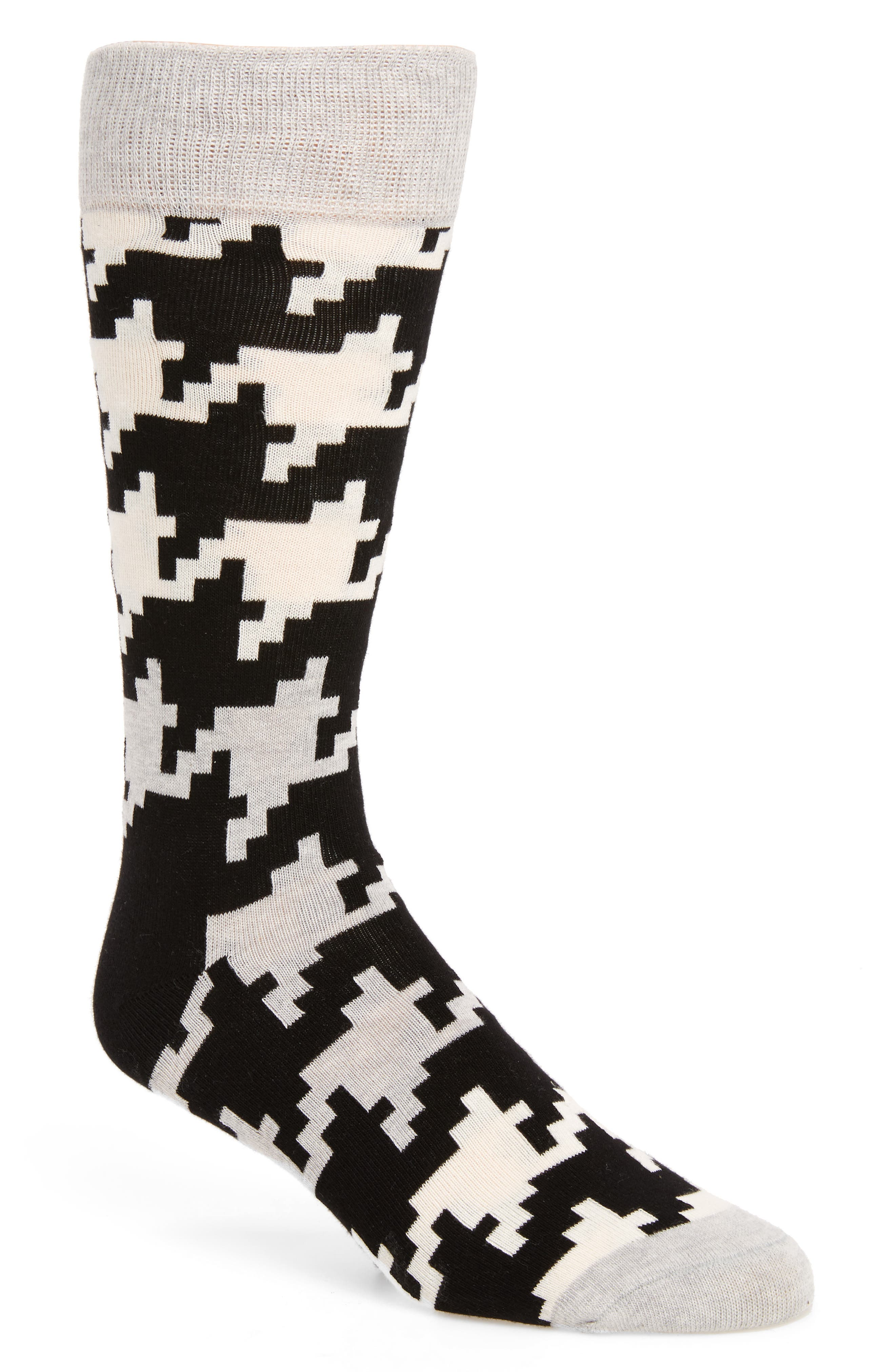 Digital Houndstooth Socks,                             Main thumbnail 1, color,                             001