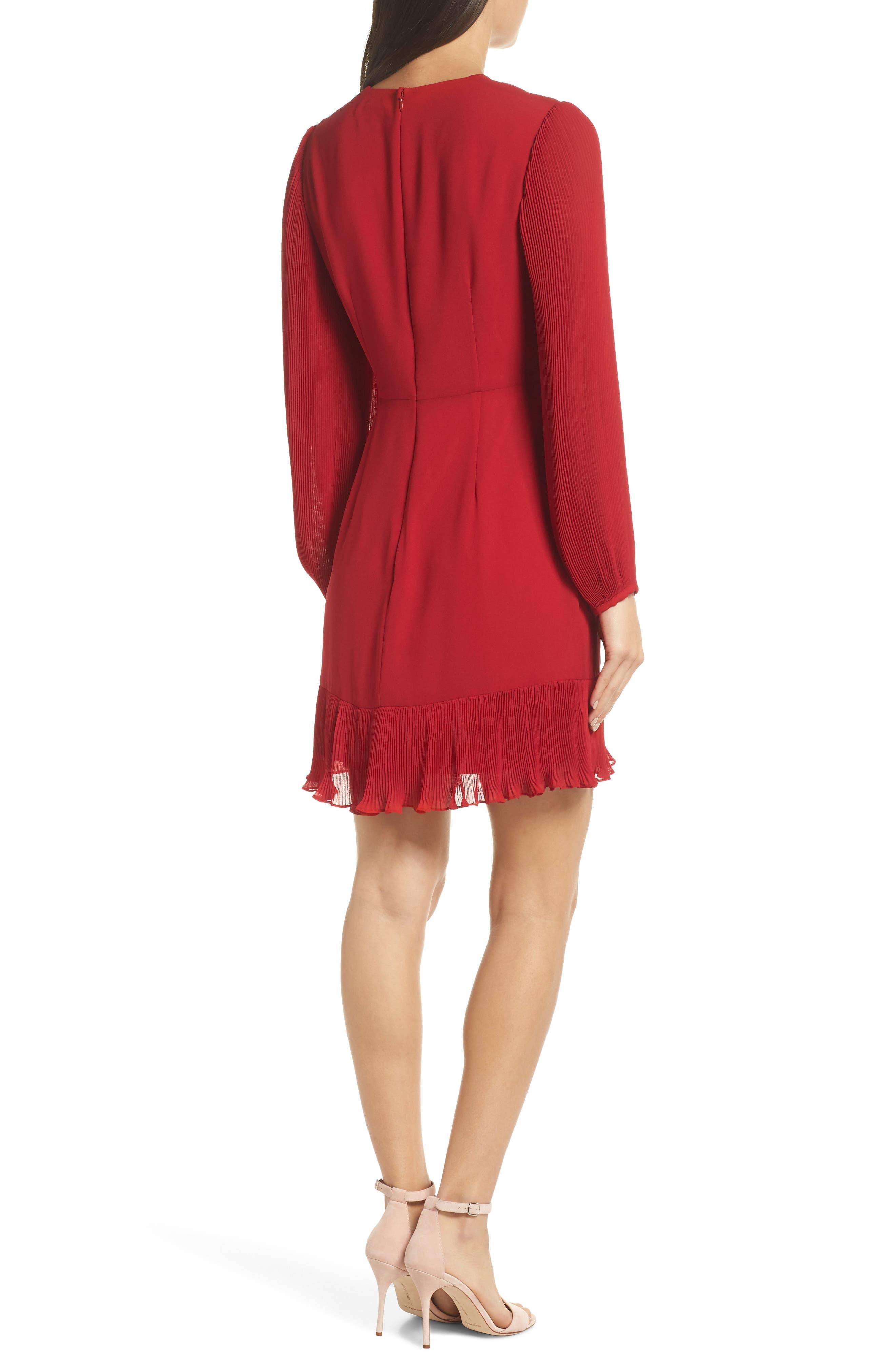 Pleat Sleeve & Ruffle Hem Dress,                             Alternate thumbnail 2, color,                             RED JESTER