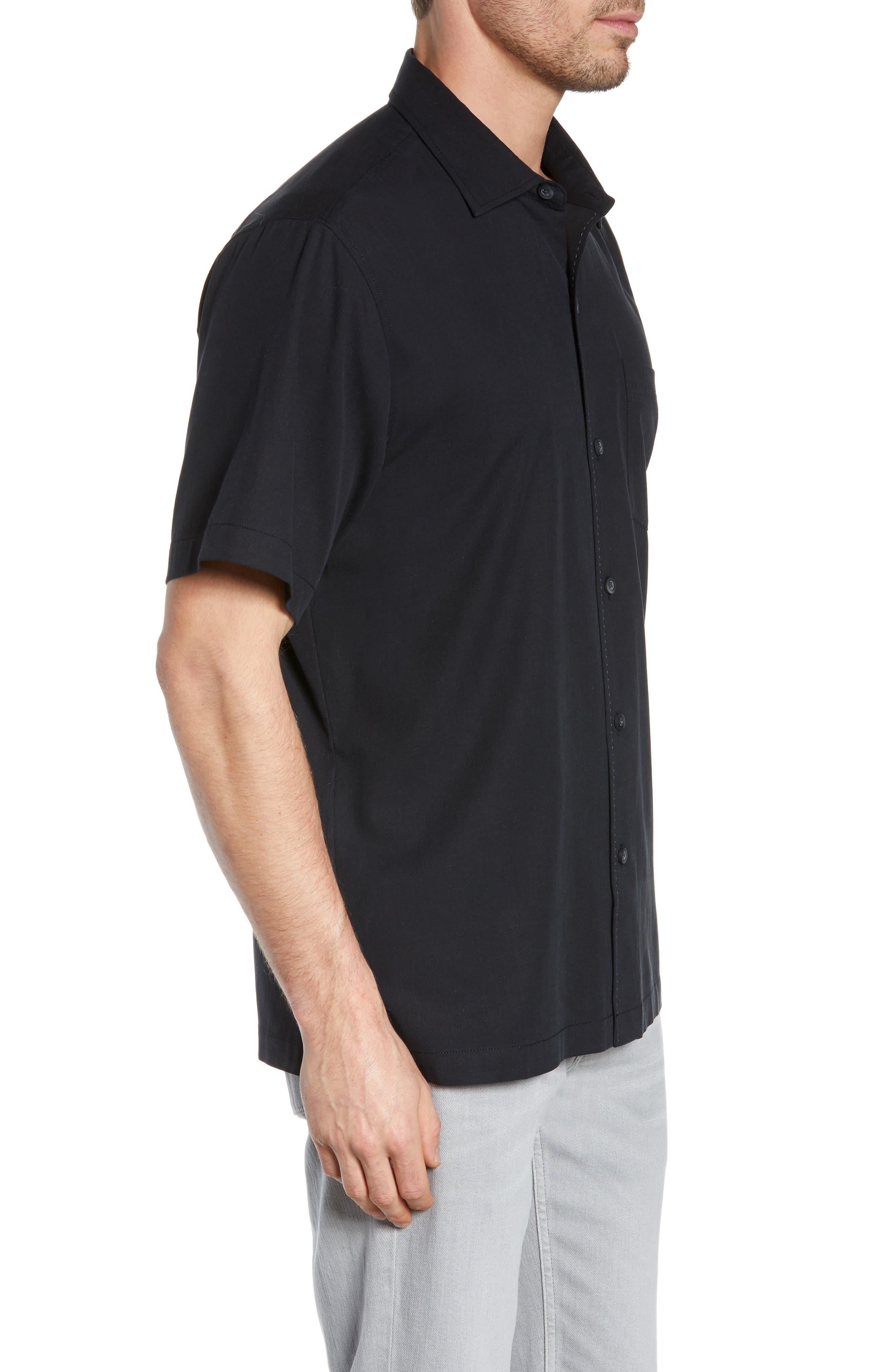 Catalina Stretch Silk Blend Camp Shirt,                             Alternate thumbnail 4, color,                             BLACK