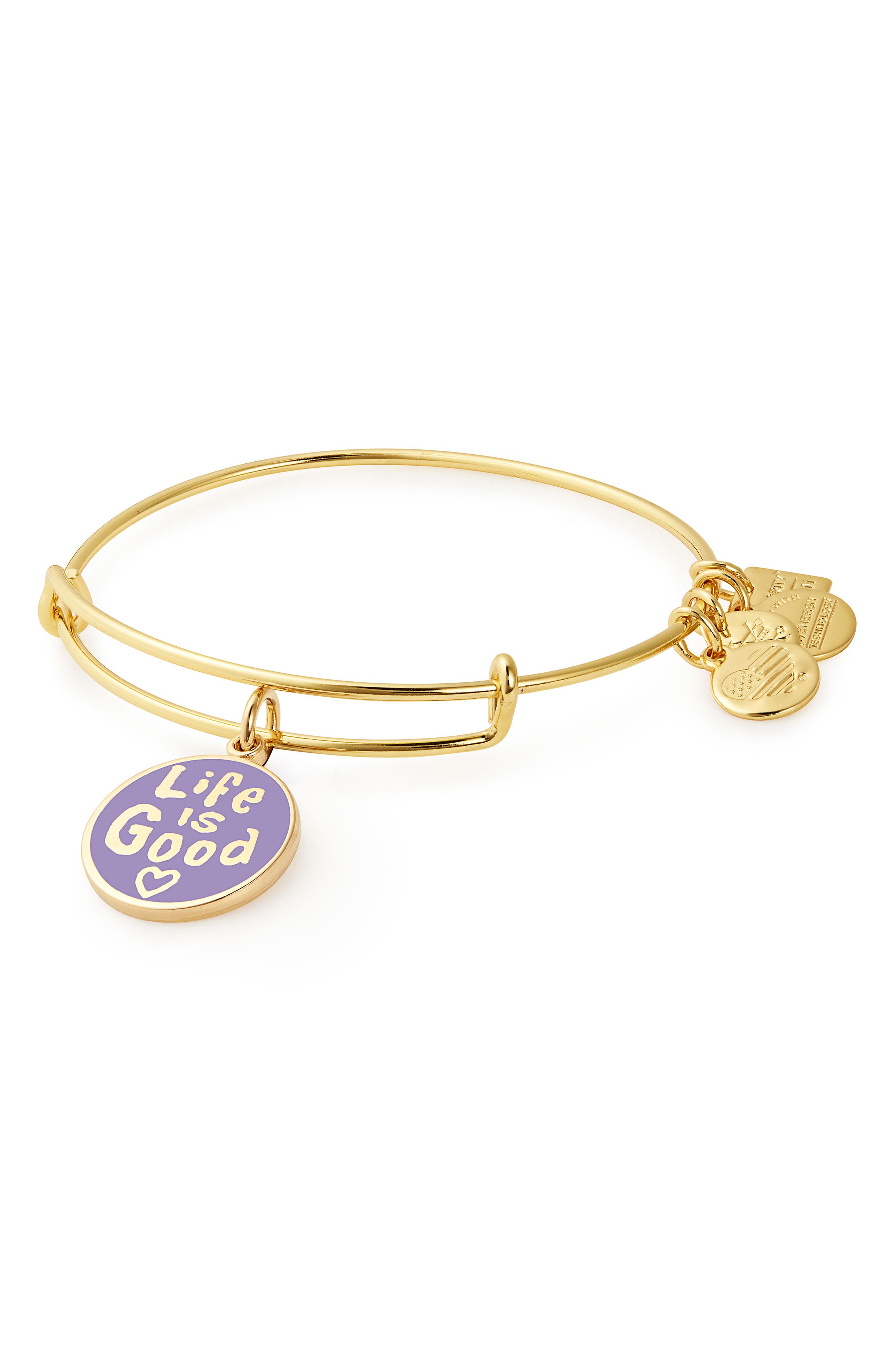Charity by Design Life is Good Bangle,                             Main thumbnail 1, color,                             GOLD