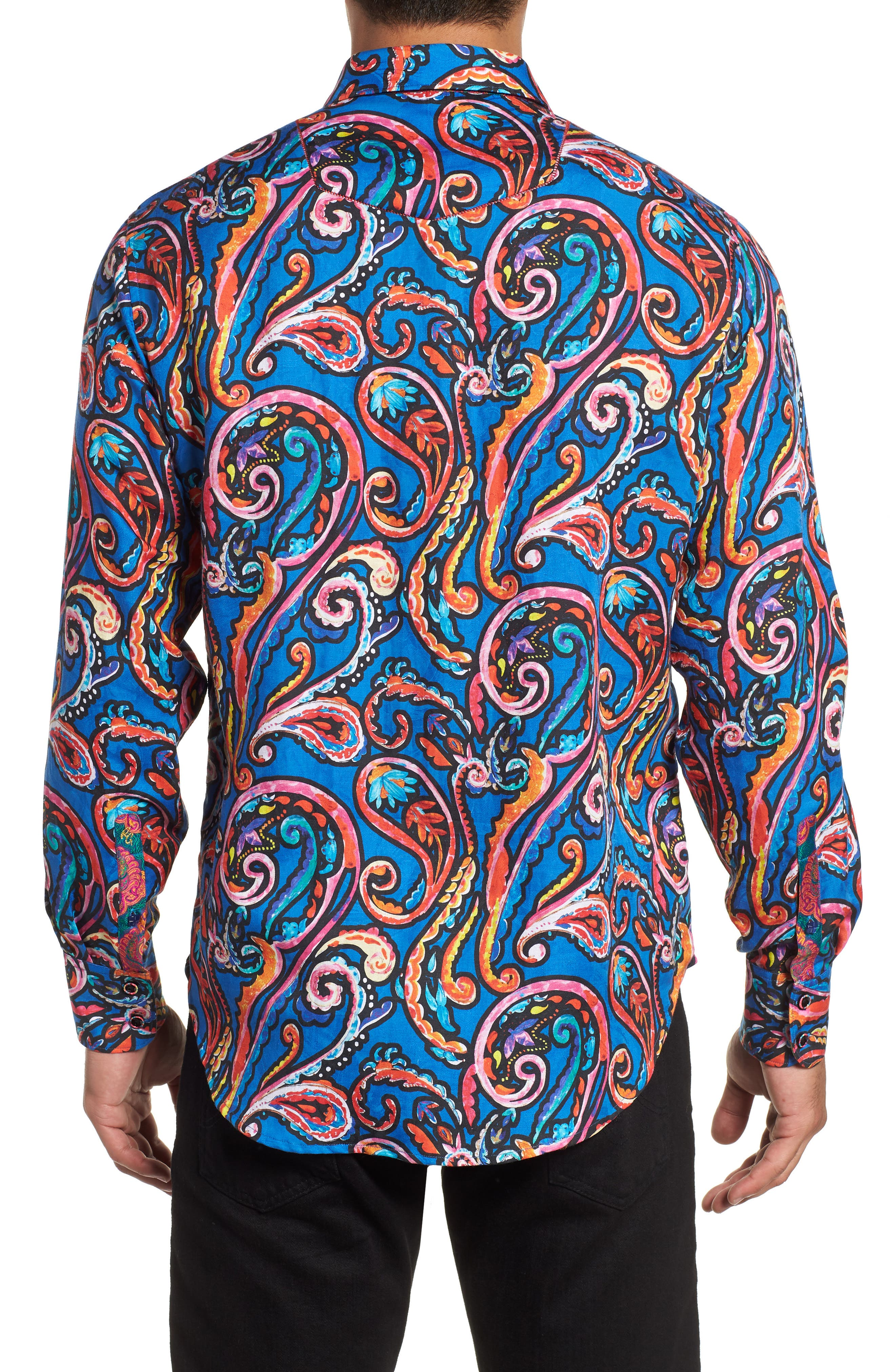 ROBERT GRAHAM,                             The Encourager Limited Edition Linen Blend Sport Shirt,                             Alternate thumbnail 3, color,                             400