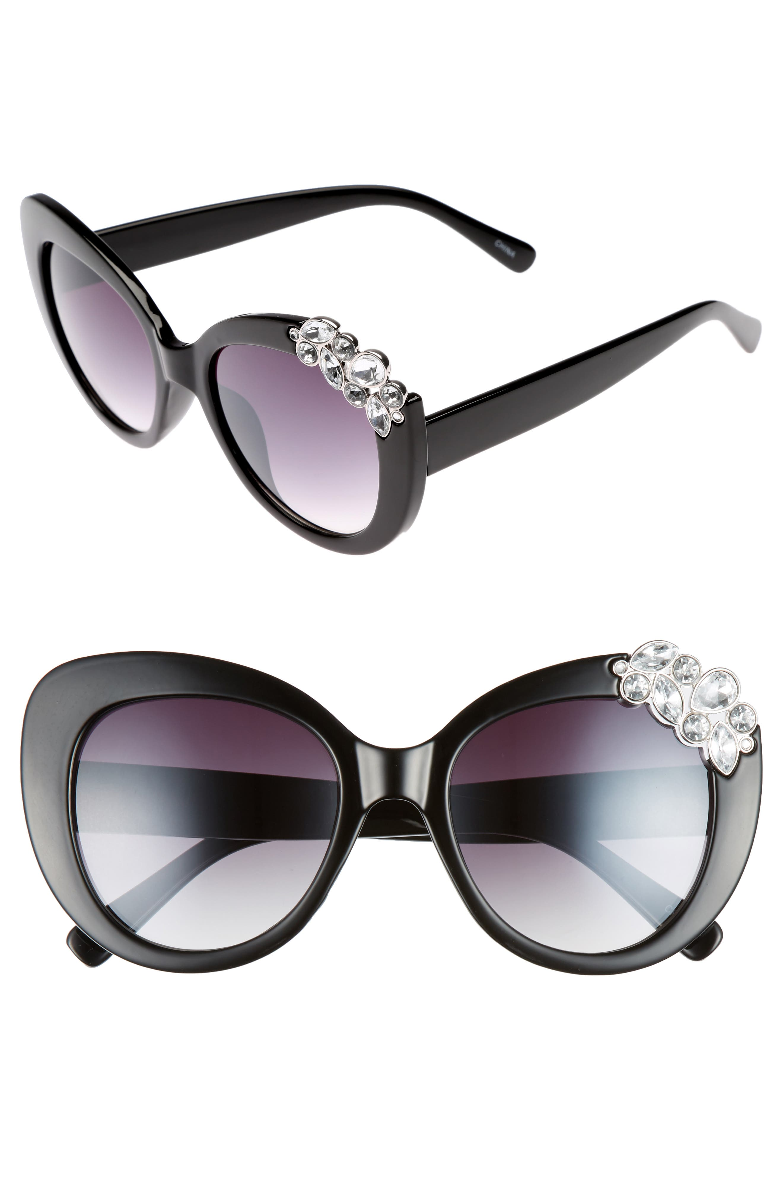 Crystal Cat Eye Sunglasses,                             Main thumbnail 1, color,                             002