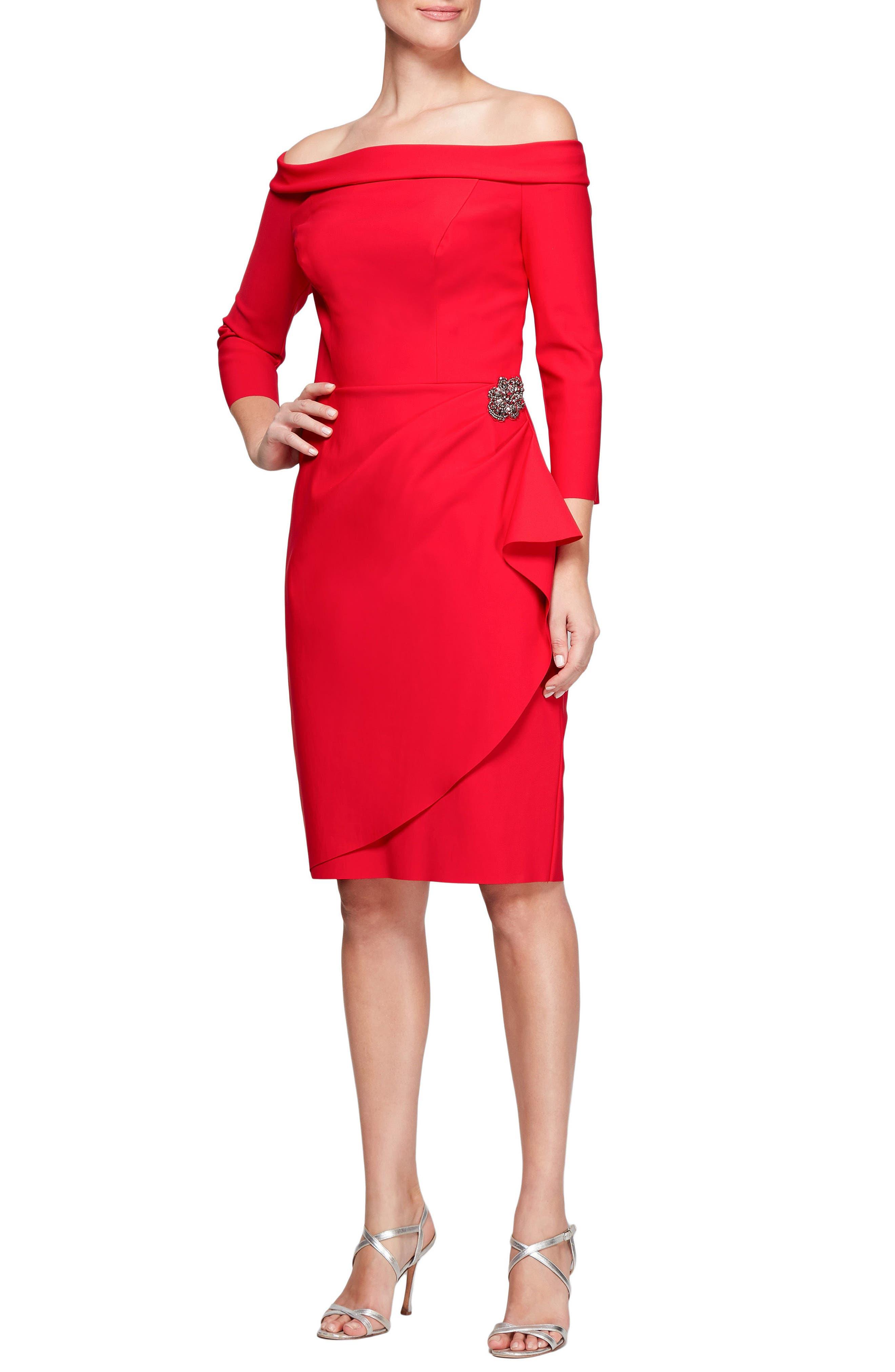 Foldover Off the Shoulder Sheath Dress,                             Main thumbnail 1, color,