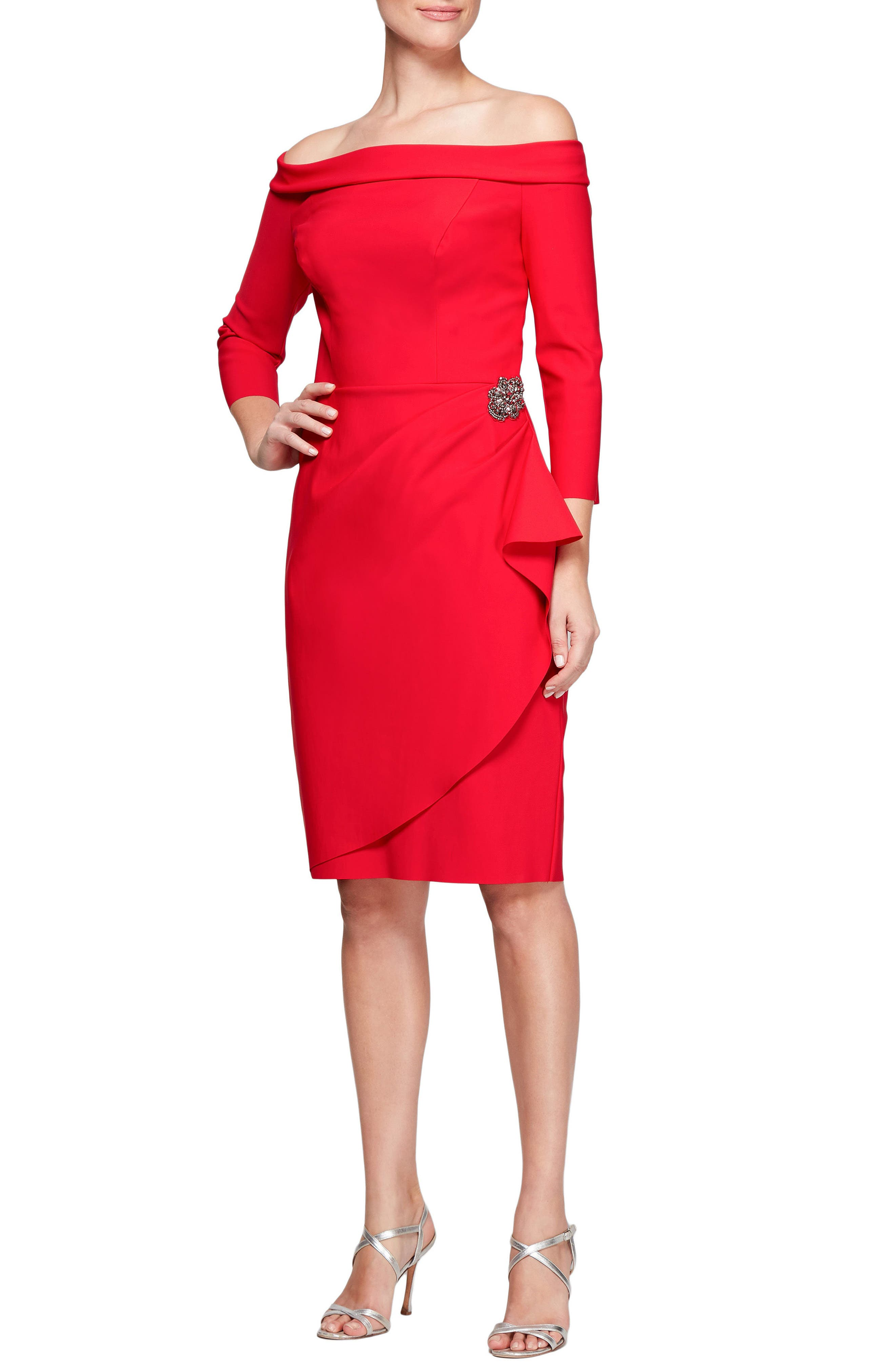 Foldover Off the Shoulder Sheath Dress,                         Main,                         color,