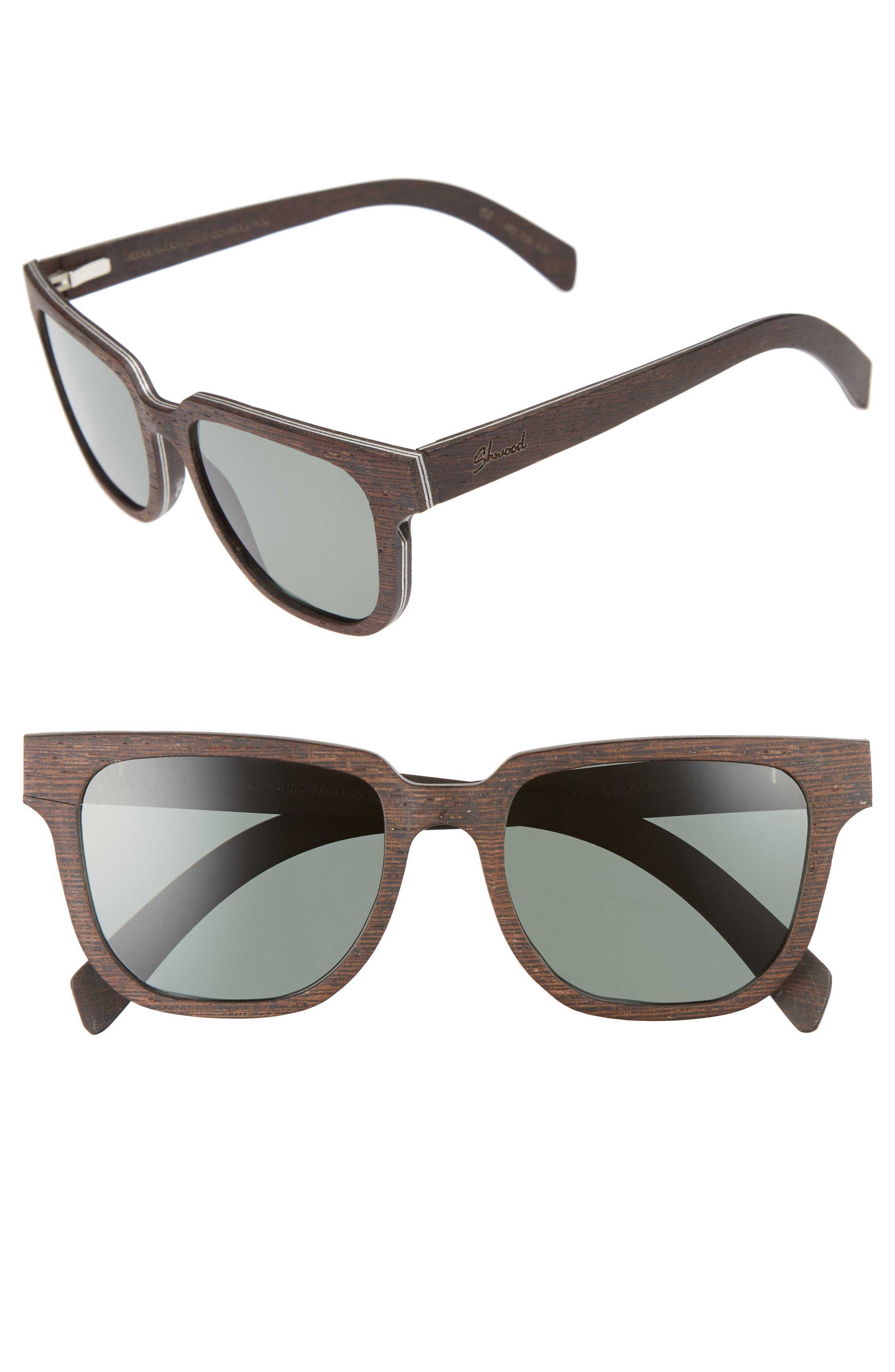 Prescott 52mm Polarized Walnut Wood Sunglasses,                             Main thumbnail 1, color,                             DARK WALNUT/ G15