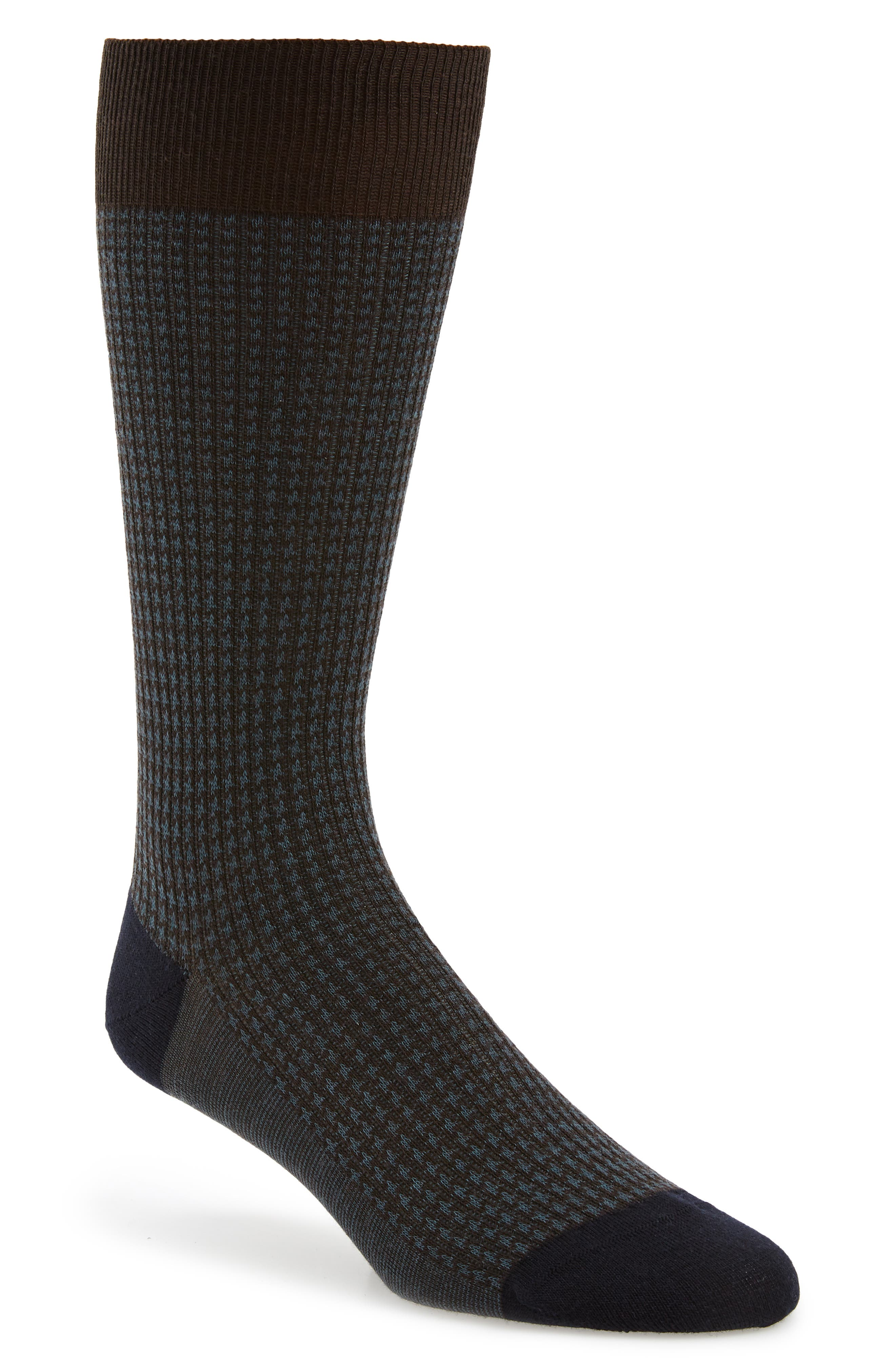 Houndstooth Wool Blend Socks,                             Main thumbnail 1, color,                             CHOCOLATE