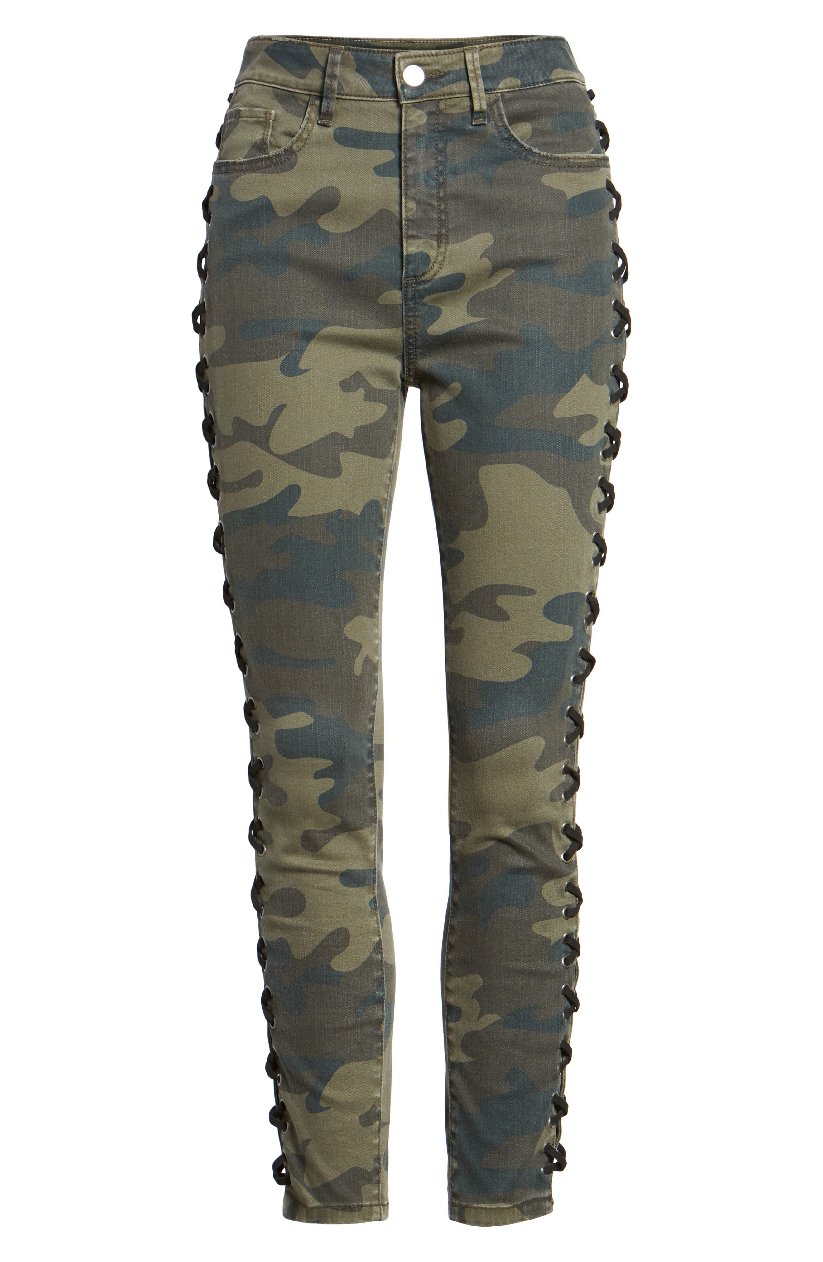 Lace Up Camo Crop Skinny Jeans,                             Alternate thumbnail 6, color,                             300