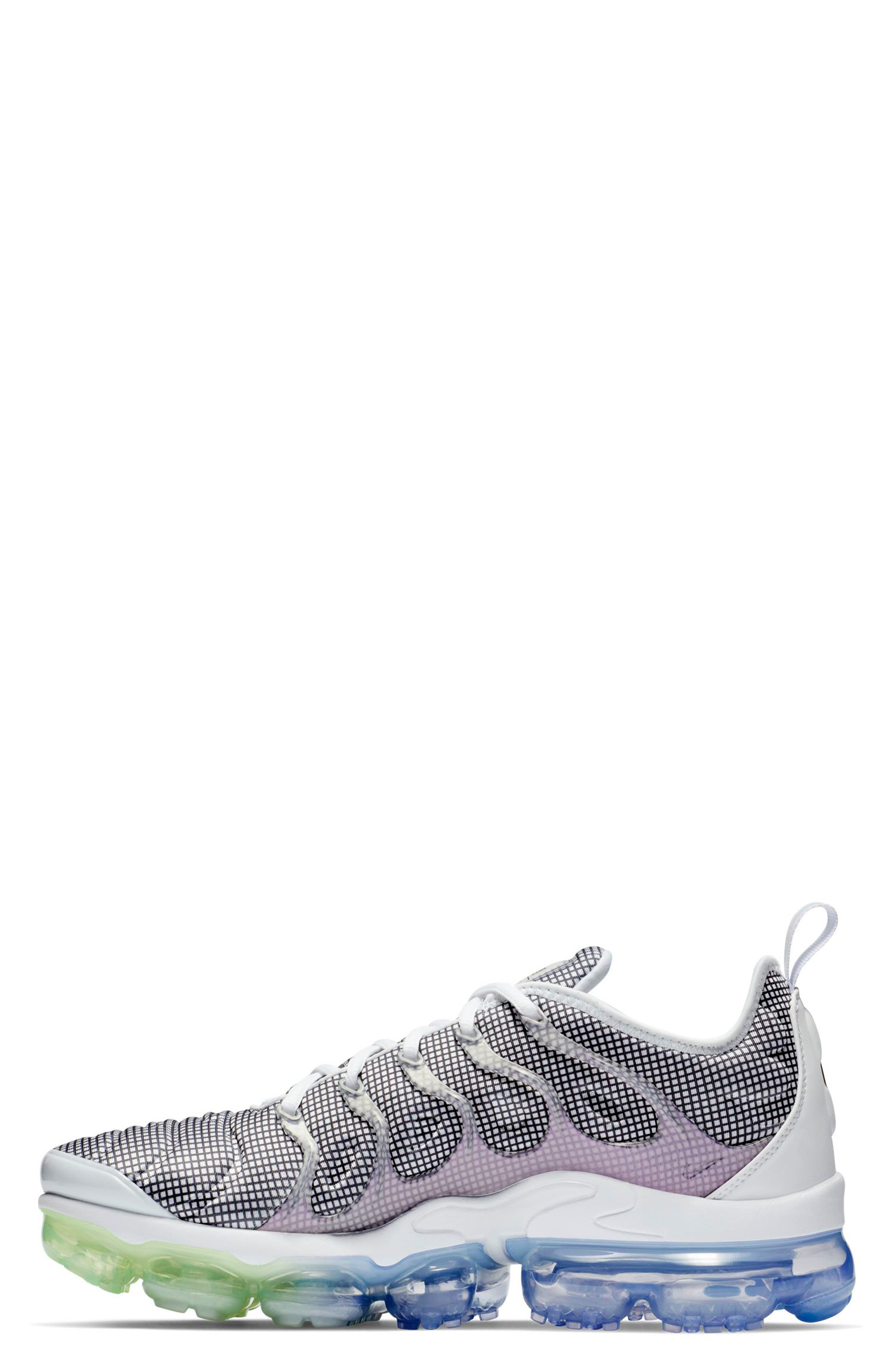 Air VaporMax Plus Sneaker,                             Alternate thumbnail 3, color,                             WHITE/ BLACK/ ALUMINUM/ VOLT