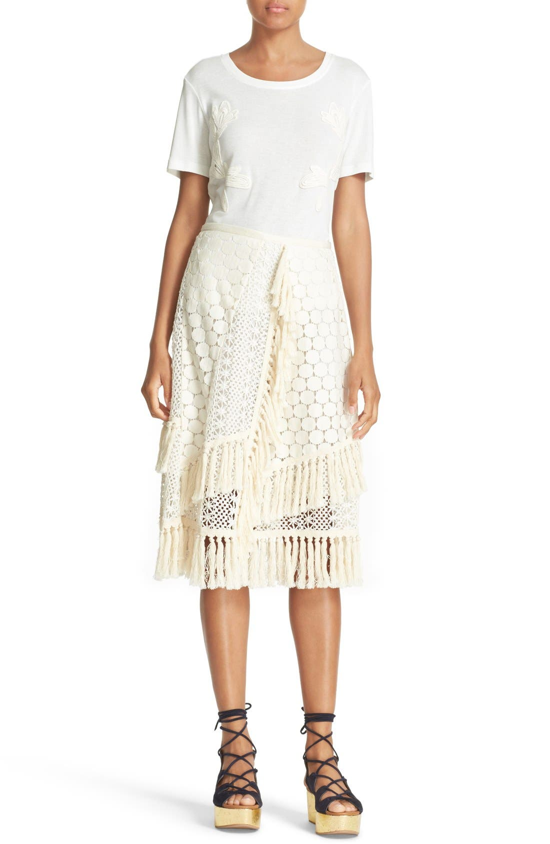 SEE BY CHLOÉ,                             Lace & Fringe Skirt,                             Alternate thumbnail 2, color,                             900