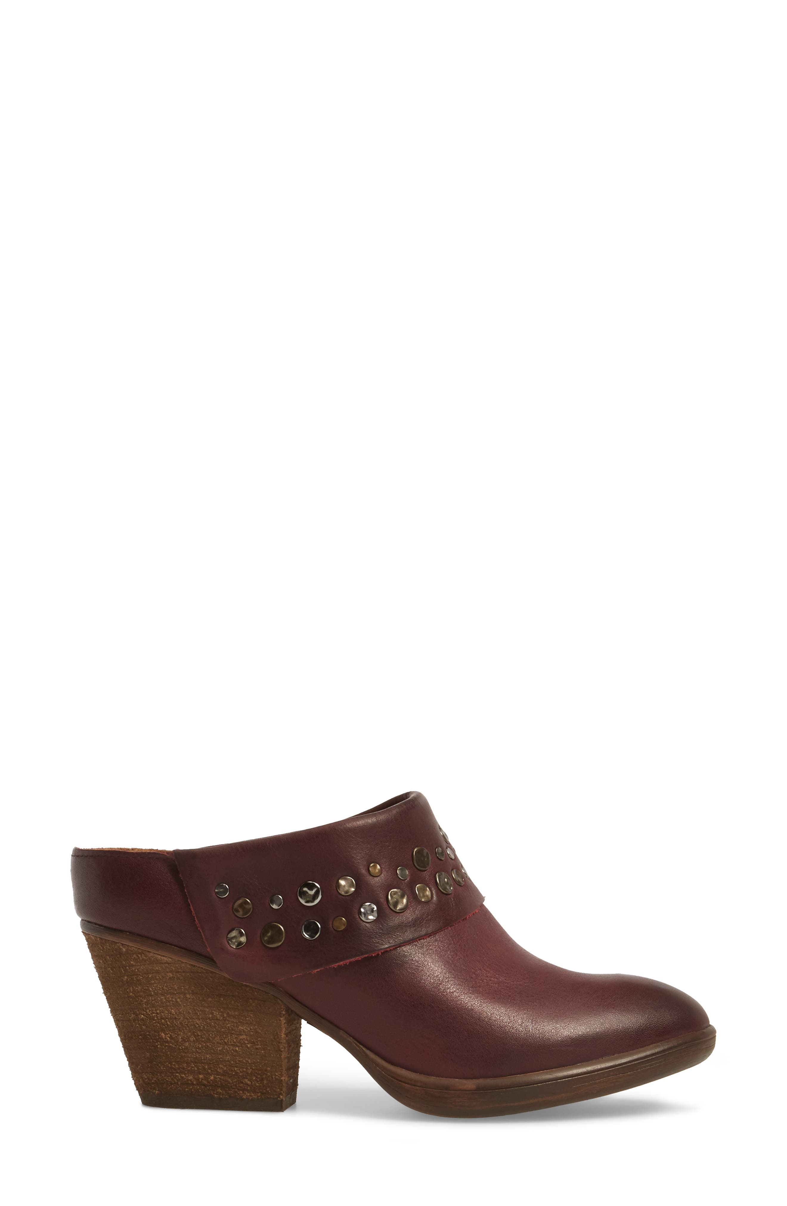 Gila Studded Mule,                             Alternate thumbnail 3, color,                             MARSALA RED LEATHER