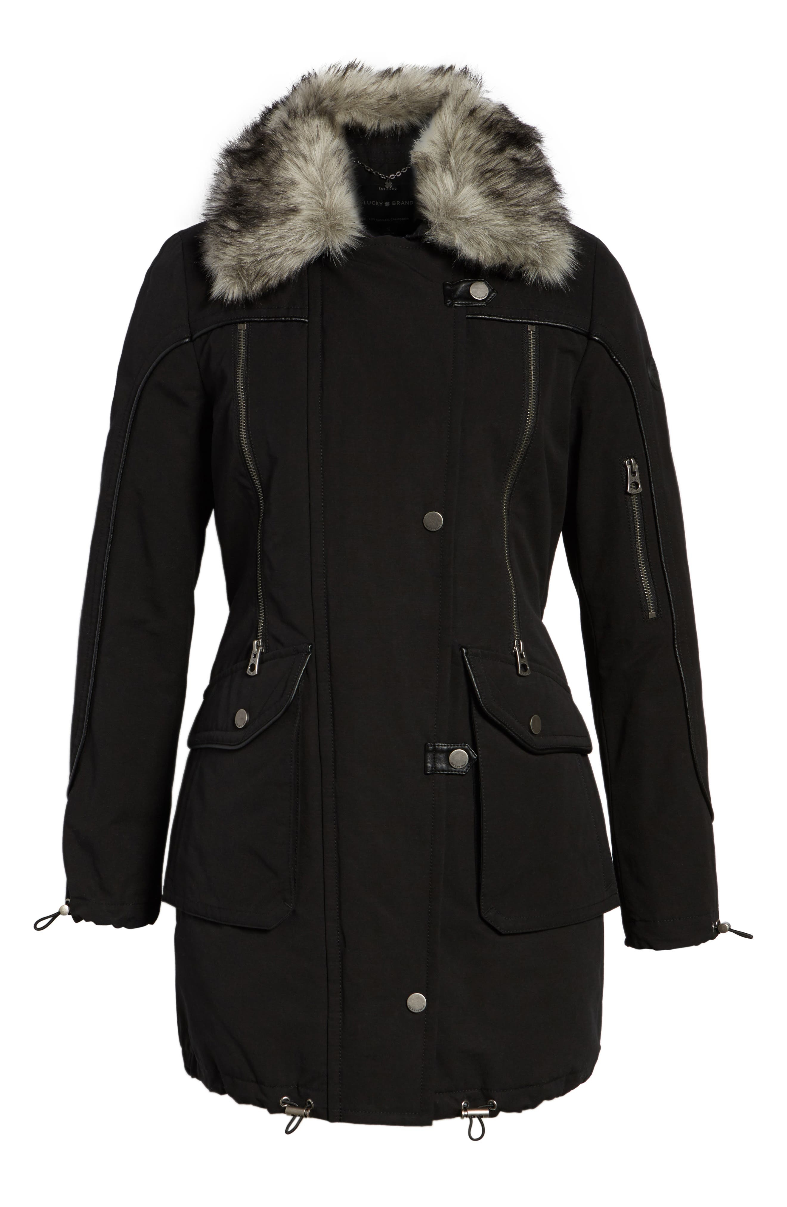 Zip Detail Parka with Faux Fur,                             Alternate thumbnail 5, color,                             001