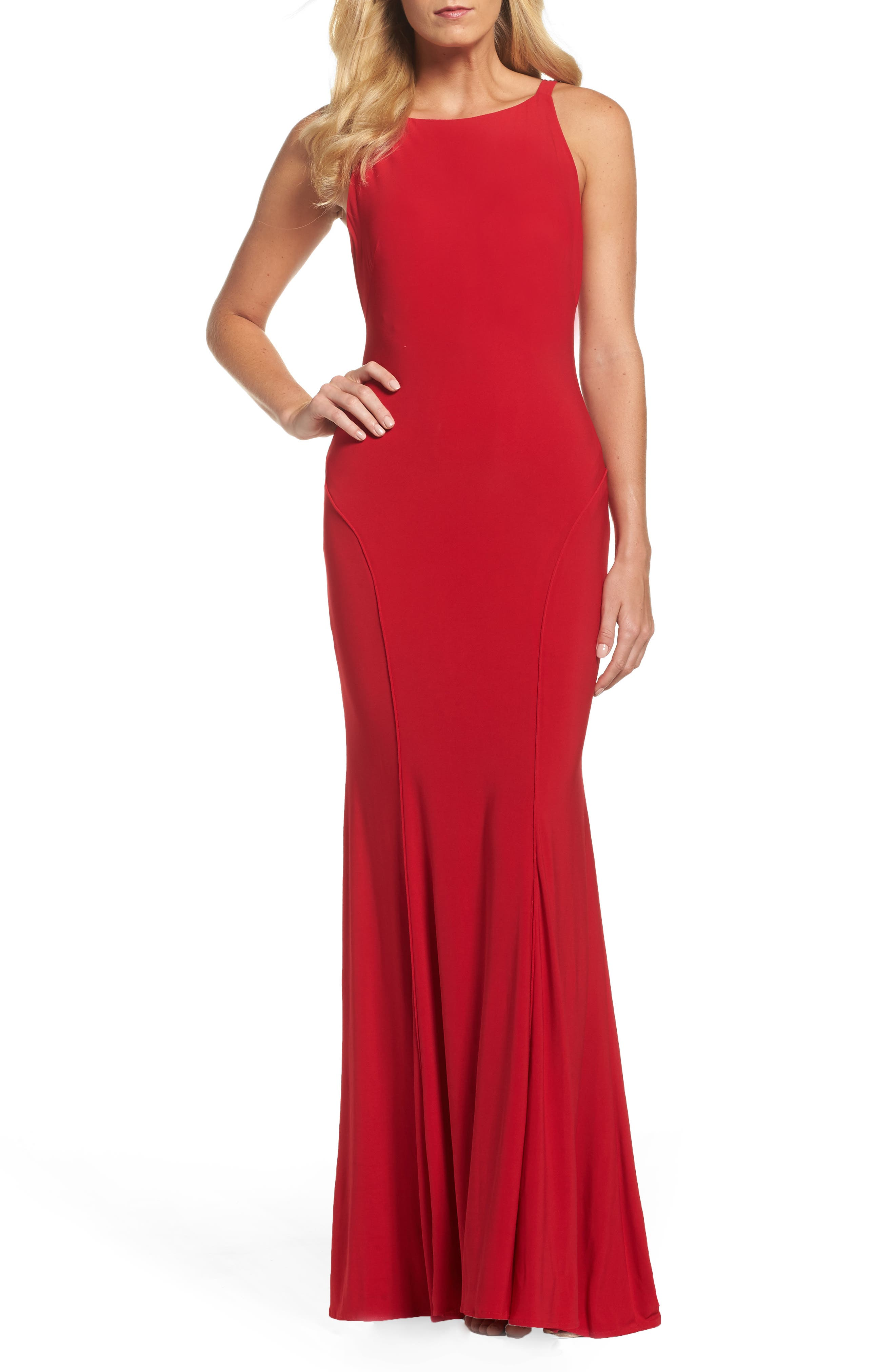 Jersey Gown,                             Main thumbnail 1, color,                             RED