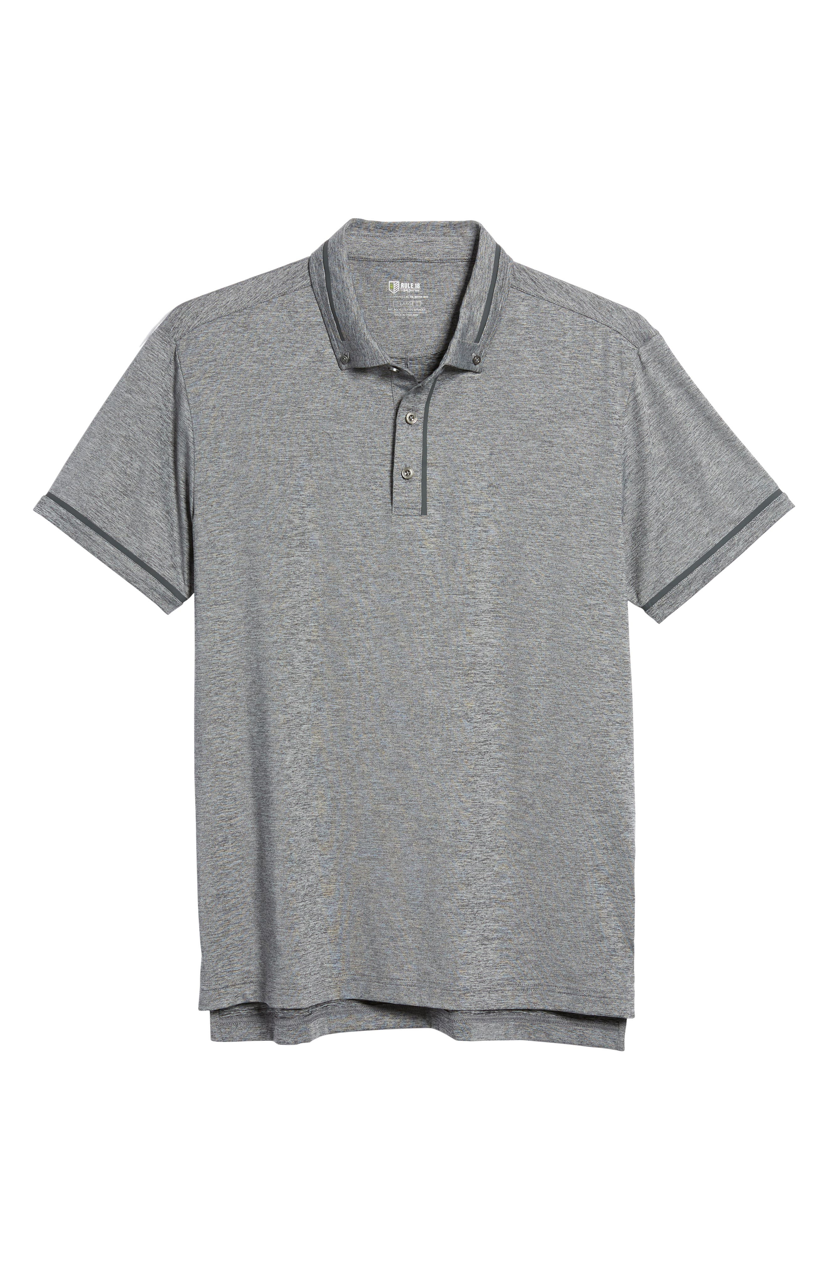 R18 Tech Chapman Welded Trim Polo,                             Alternate thumbnail 6, color,                             CHARCOAL HEATHER