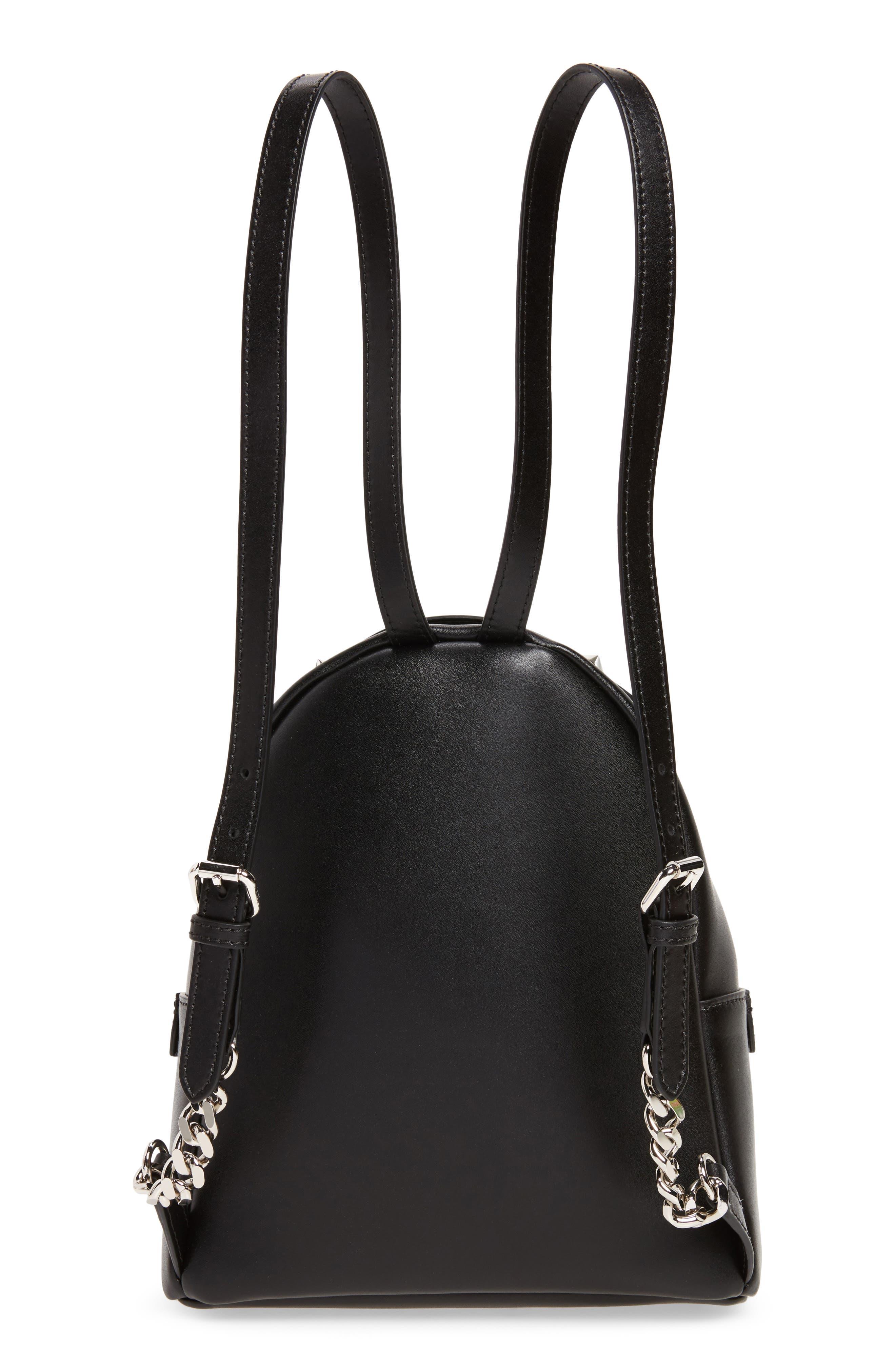 Mini Imitation Pearl Bow Leather Backpack,                             Alternate thumbnail 3, color,                             004
