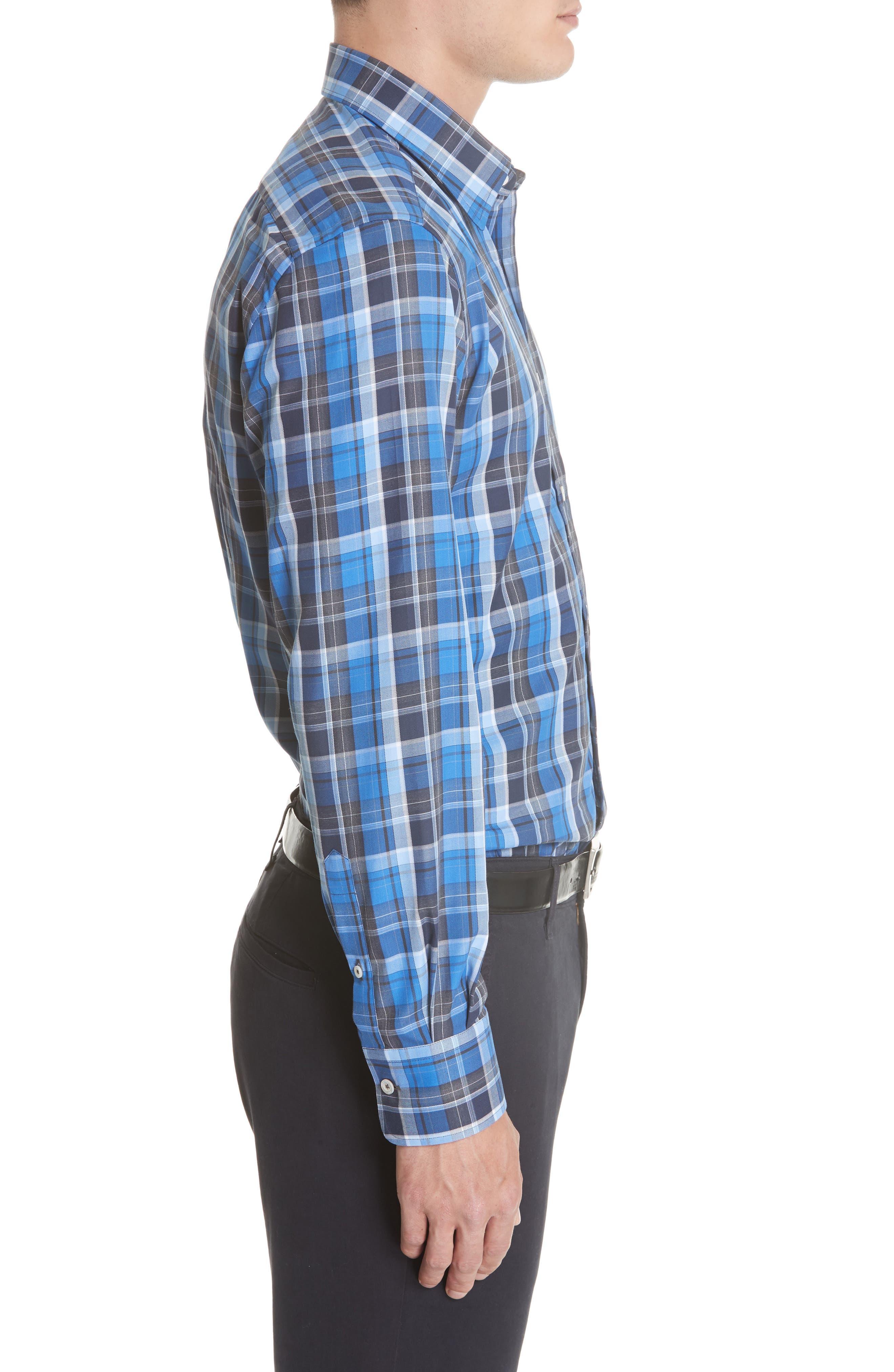 Regular Fit Plaid Sport Shirt,                             Alternate thumbnail 4, color,