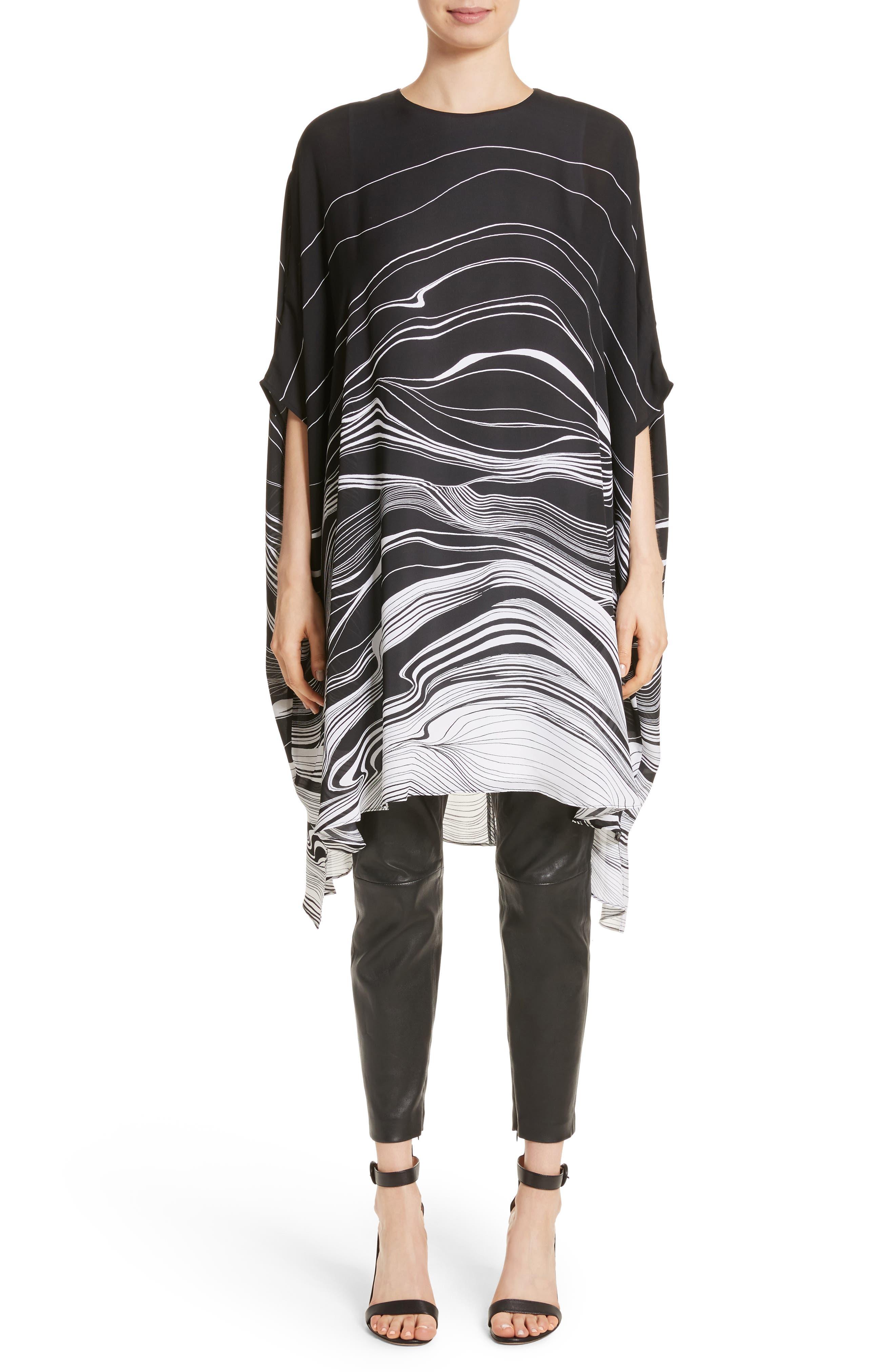 Brushstroke Print Silk Satin Dress,                             Alternate thumbnail 7, color,                             001