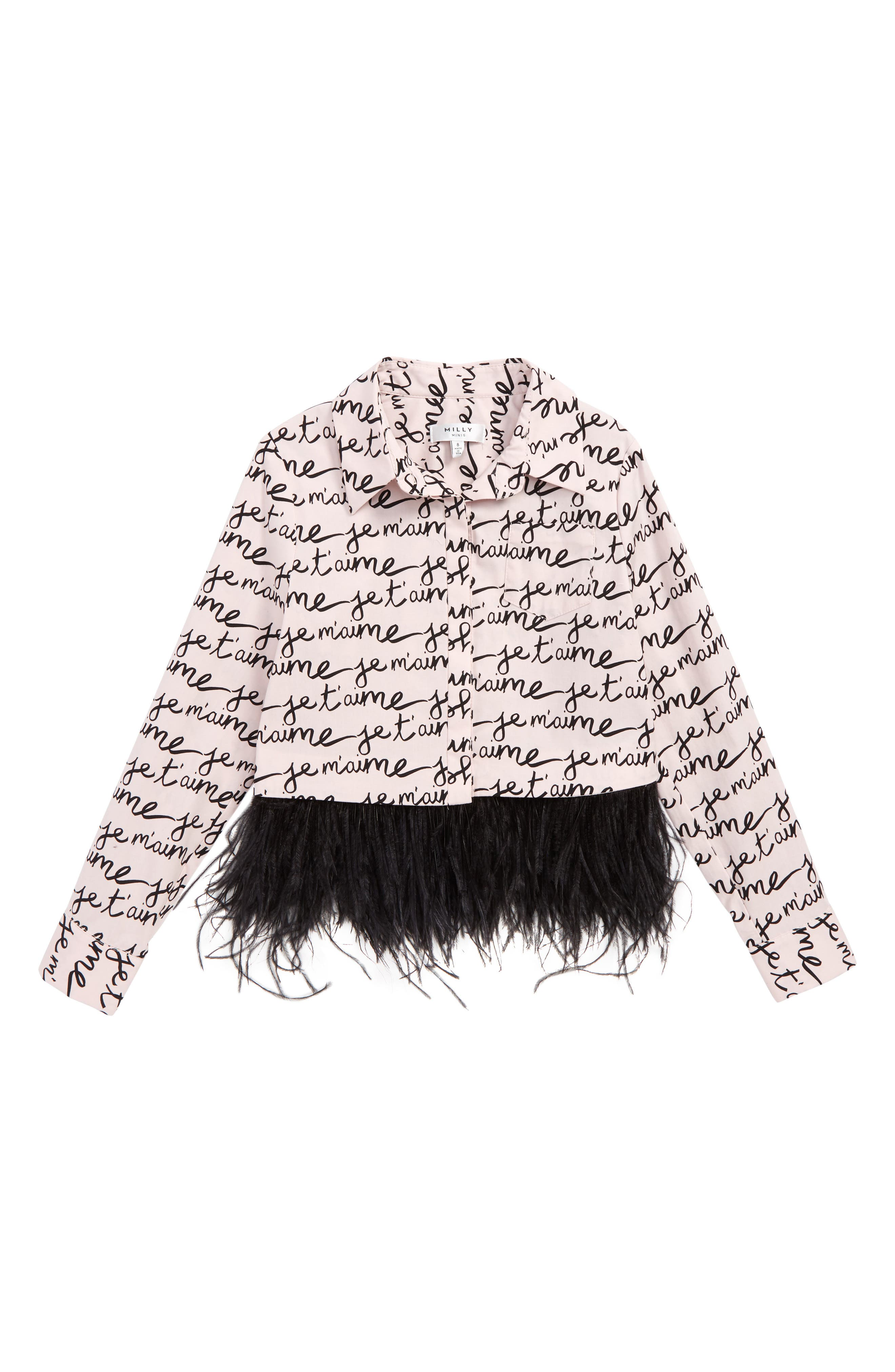 Milly Je T'aime Feather Trim Shirt,                         Main,                         color, 650