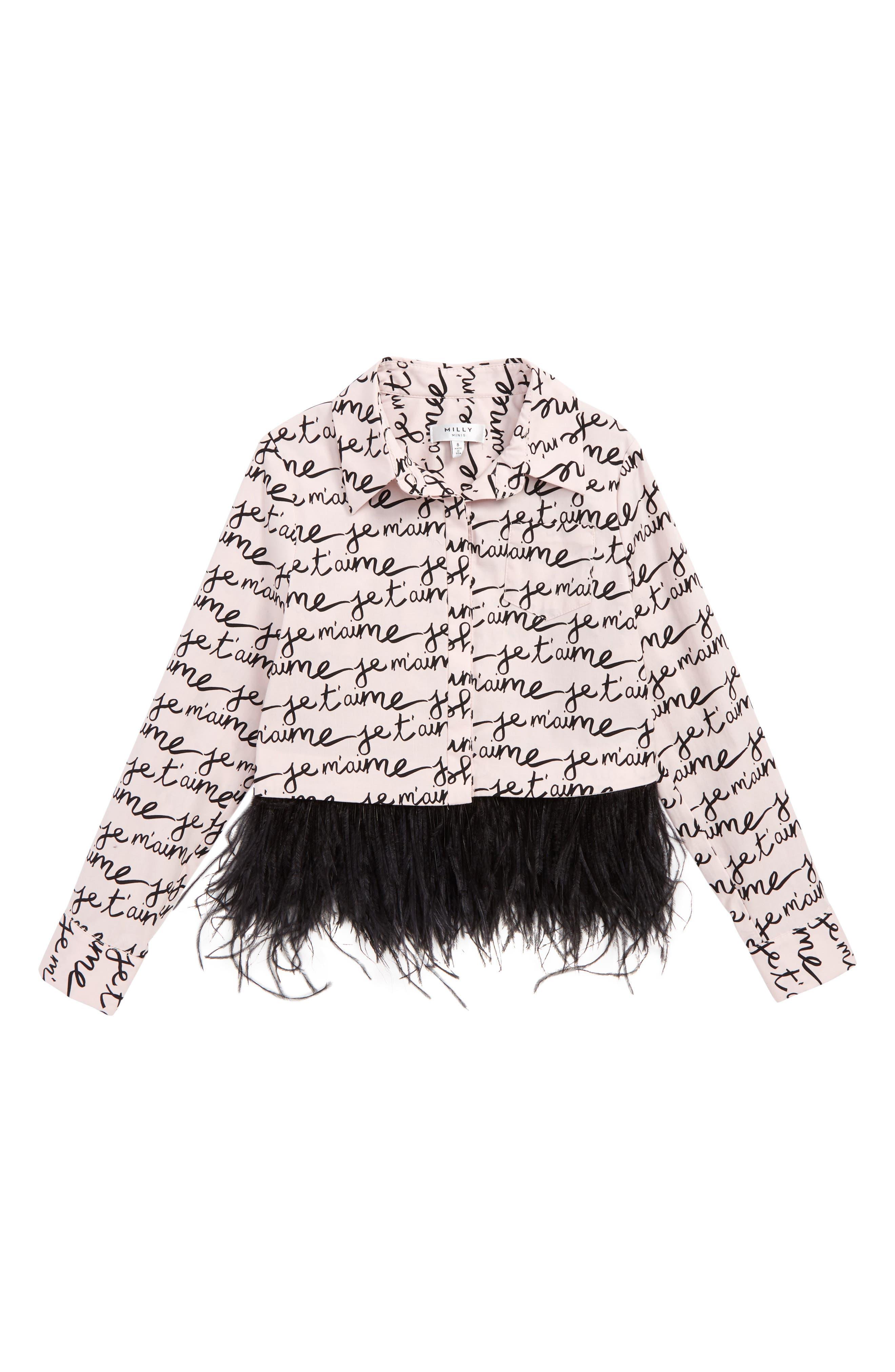 Je T'aime Feather Trim Shirt,                         Main,                         color, PALE PINK / BLACK