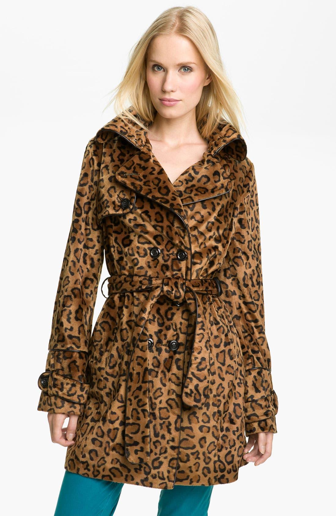 BETSEY JOHNSON,                             Faux Fur Trench Coat,                             Main thumbnail 1, color,                             700