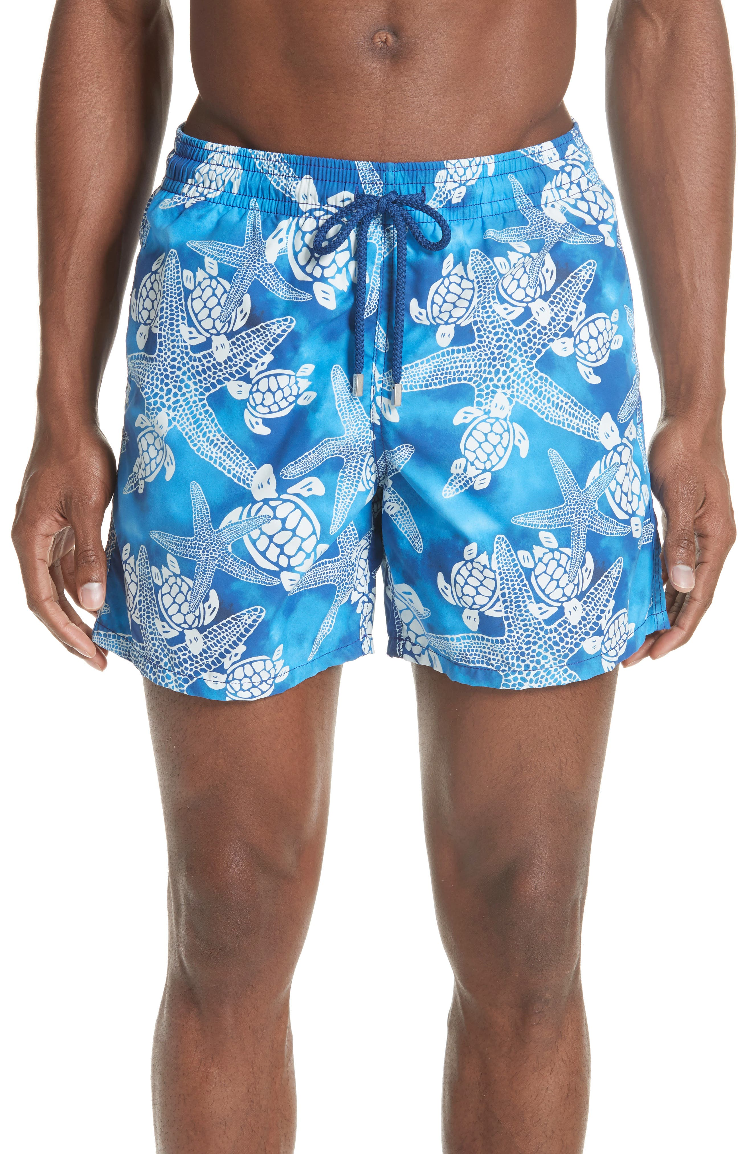 Starfish & Turtles Swim Trunks,                             Main thumbnail 1, color,                             NEPTUNE