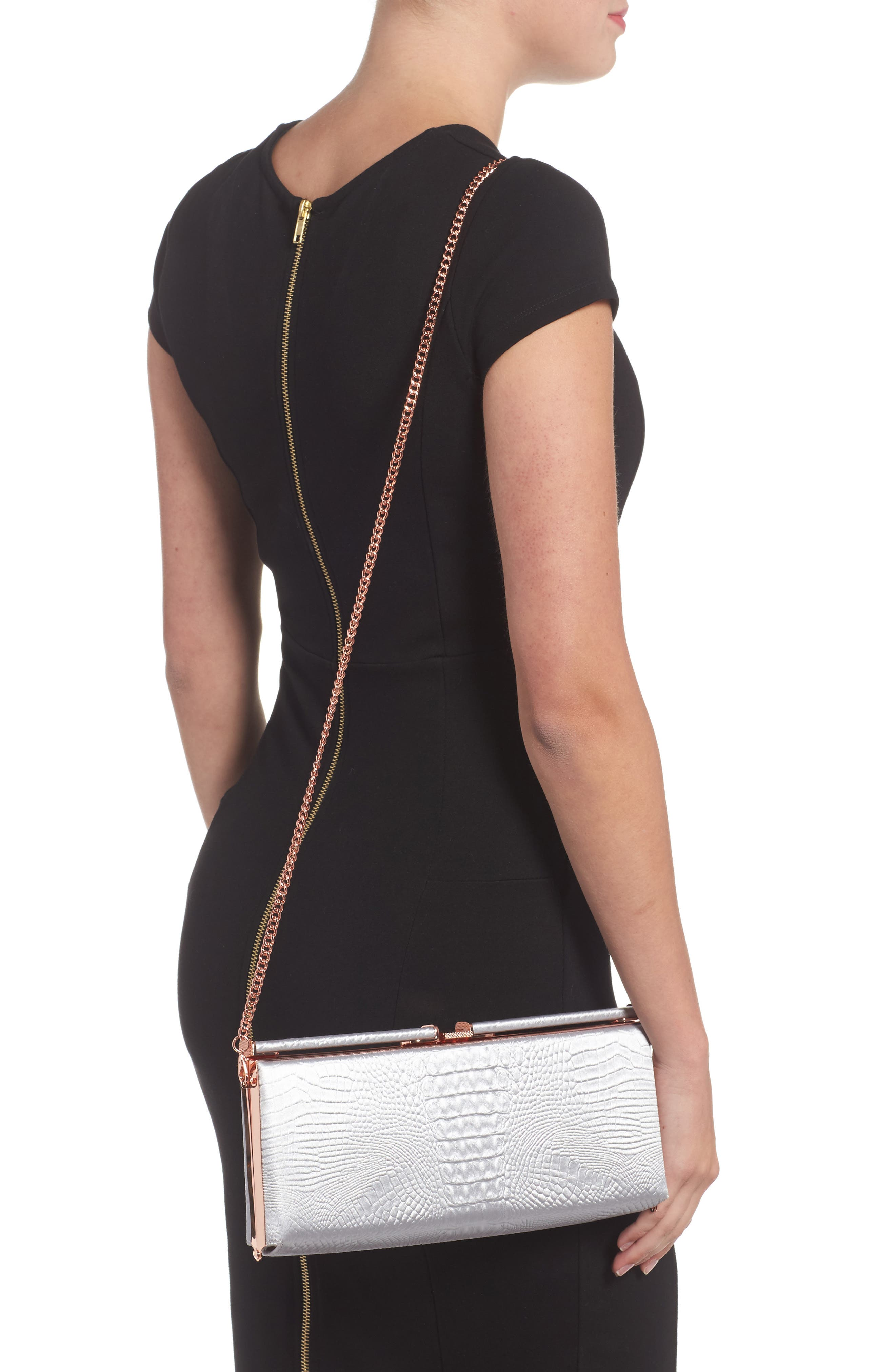 Ted Baker Darciee Embossed Frame Clutch,                             Alternate thumbnail 2, color,                             050
