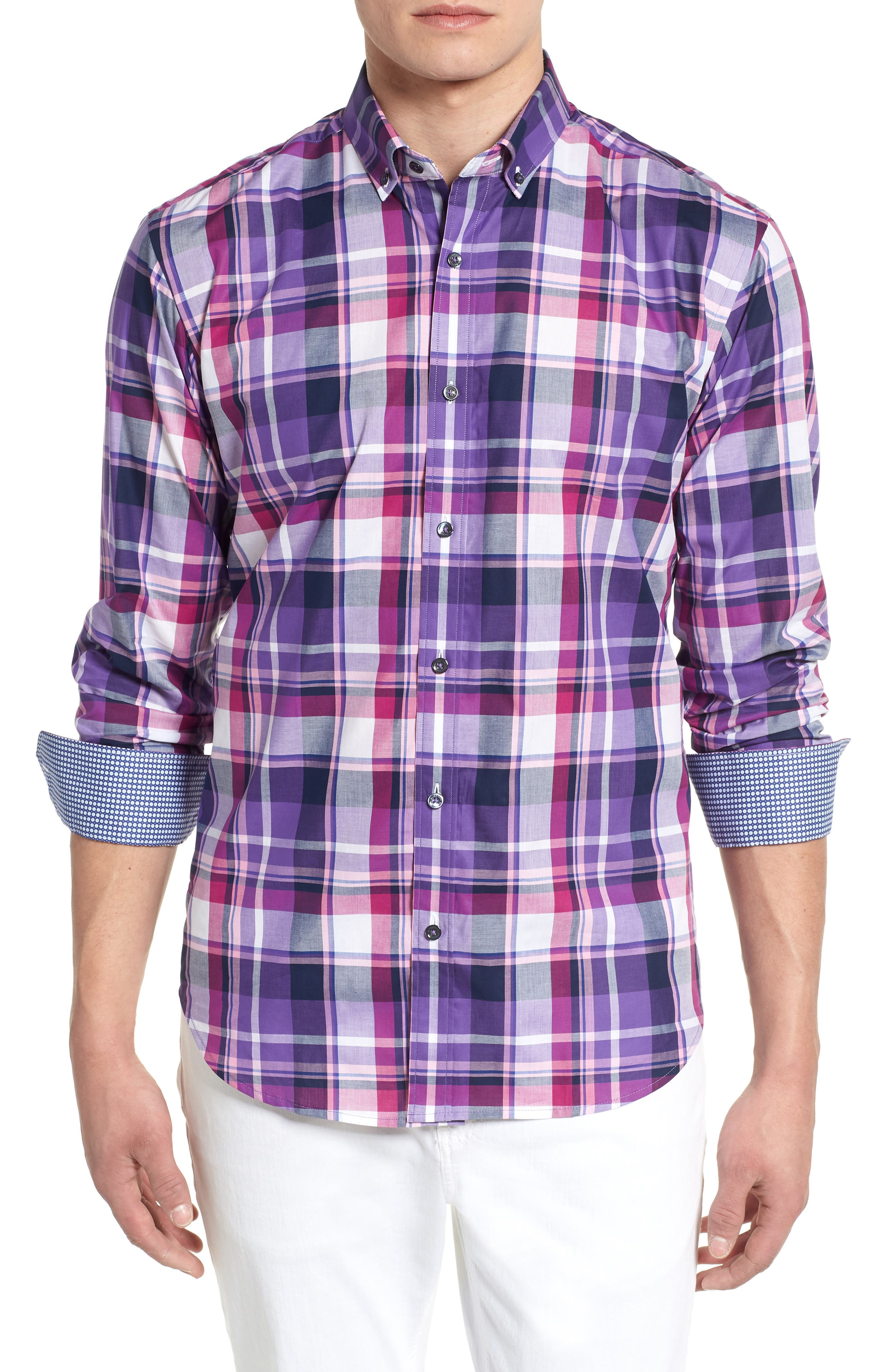BUGATCHI,                             Shaped Fit Check Sport Shirt,                             Main thumbnail 1, color,                             500