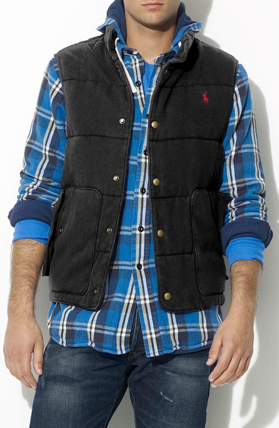 POLO RALPH LAUREN Fleece Mock Neck Vest, Main, color, 001