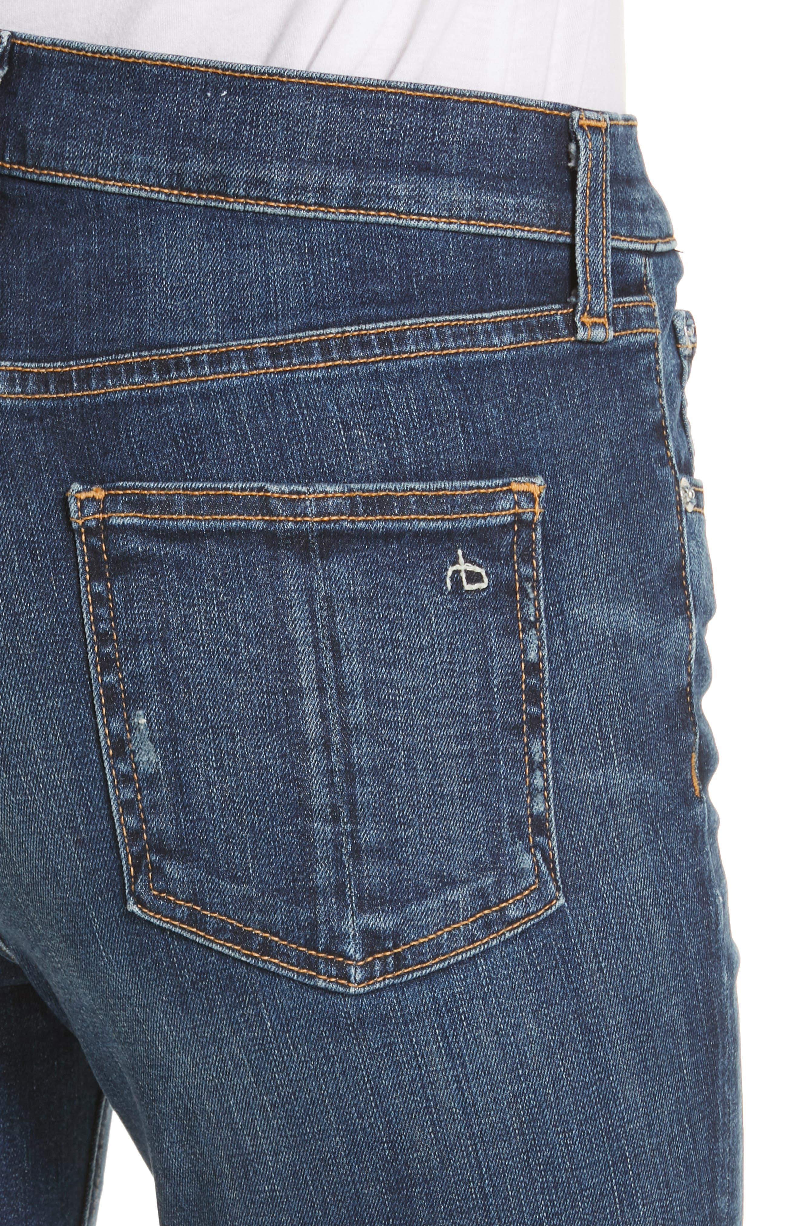 Ripped High Waist Skinny Jeans,                             Alternate thumbnail 4, color,                             ELTON