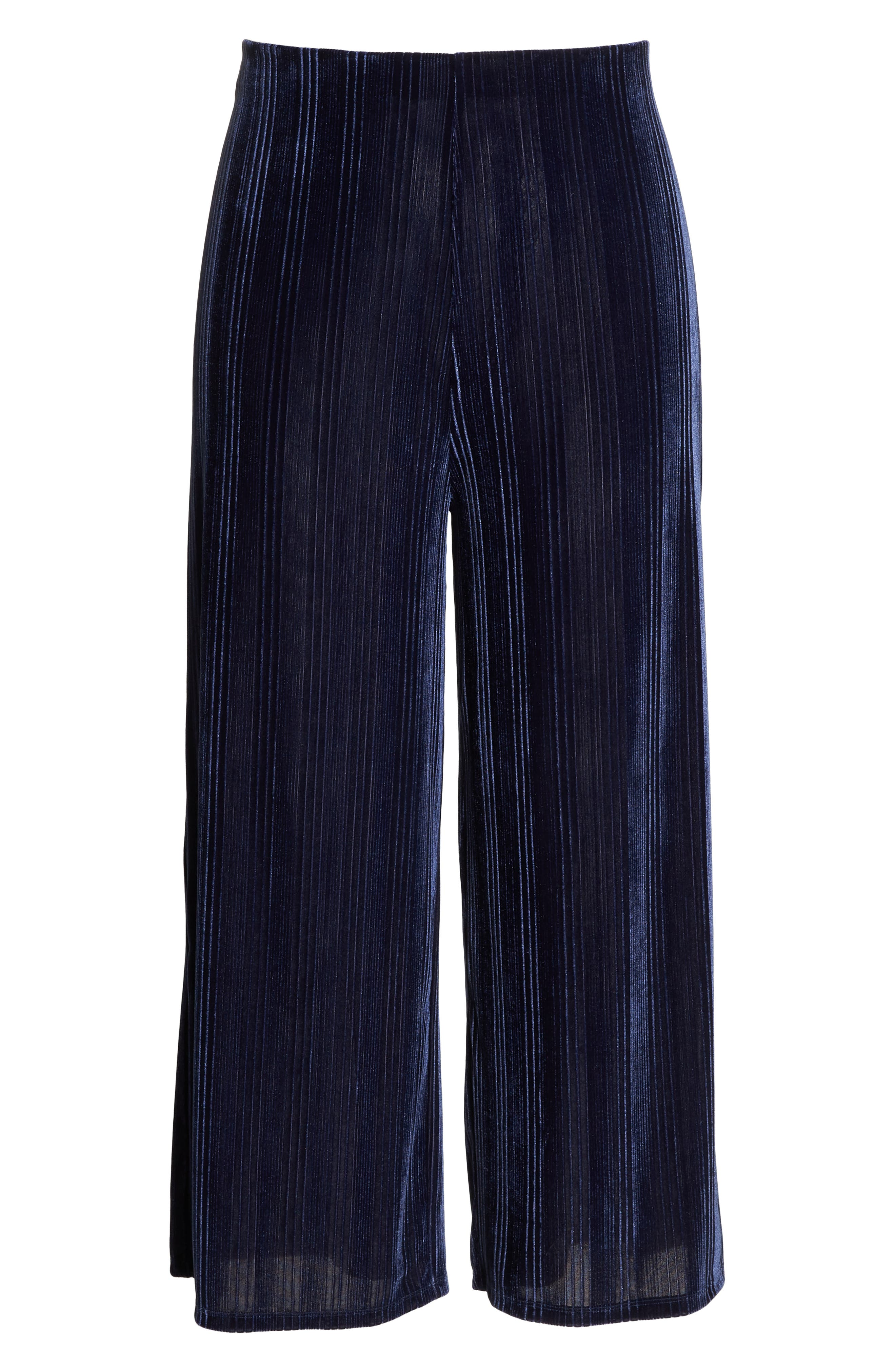 High Rise Velour Wide Leg Crop Pants,                             Alternate thumbnail 7, color,                             NAVY MARITIME