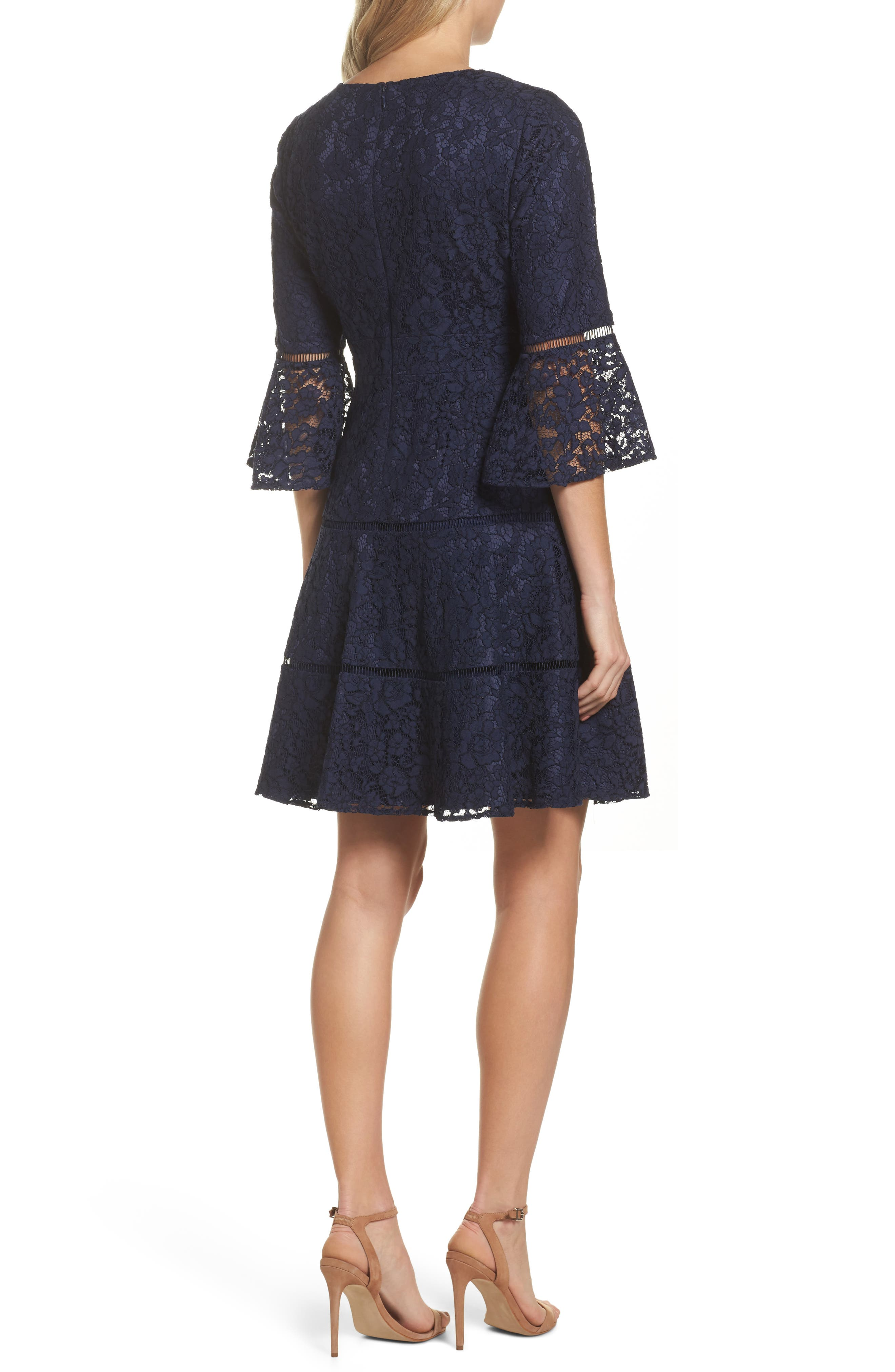 Bell Sleeve Lace Fit & Flare Dress,                             Alternate thumbnail 3, color,