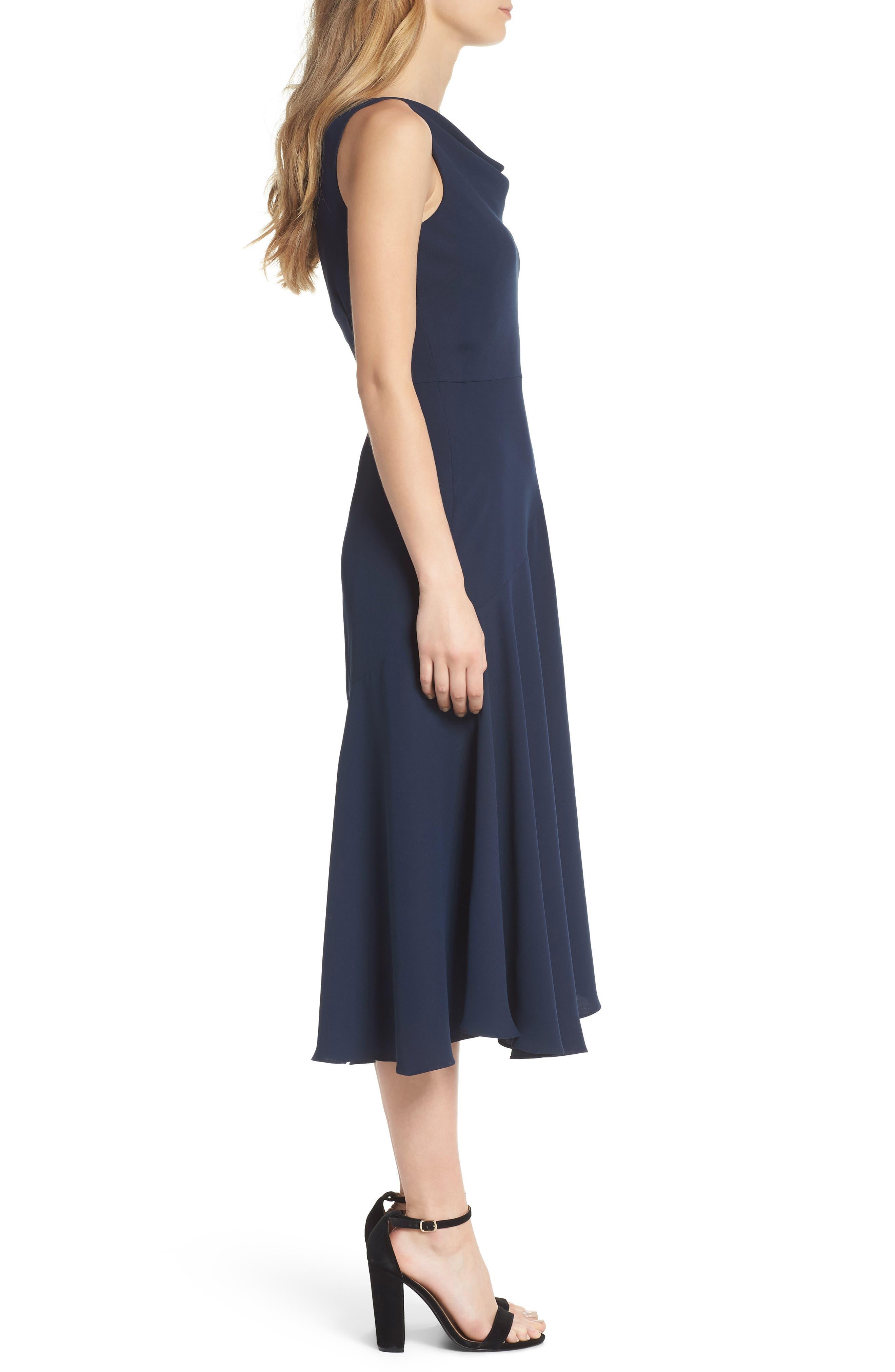 Juliet Cowl Neck Crepe Dress,                             Alternate thumbnail 3, color,                             419