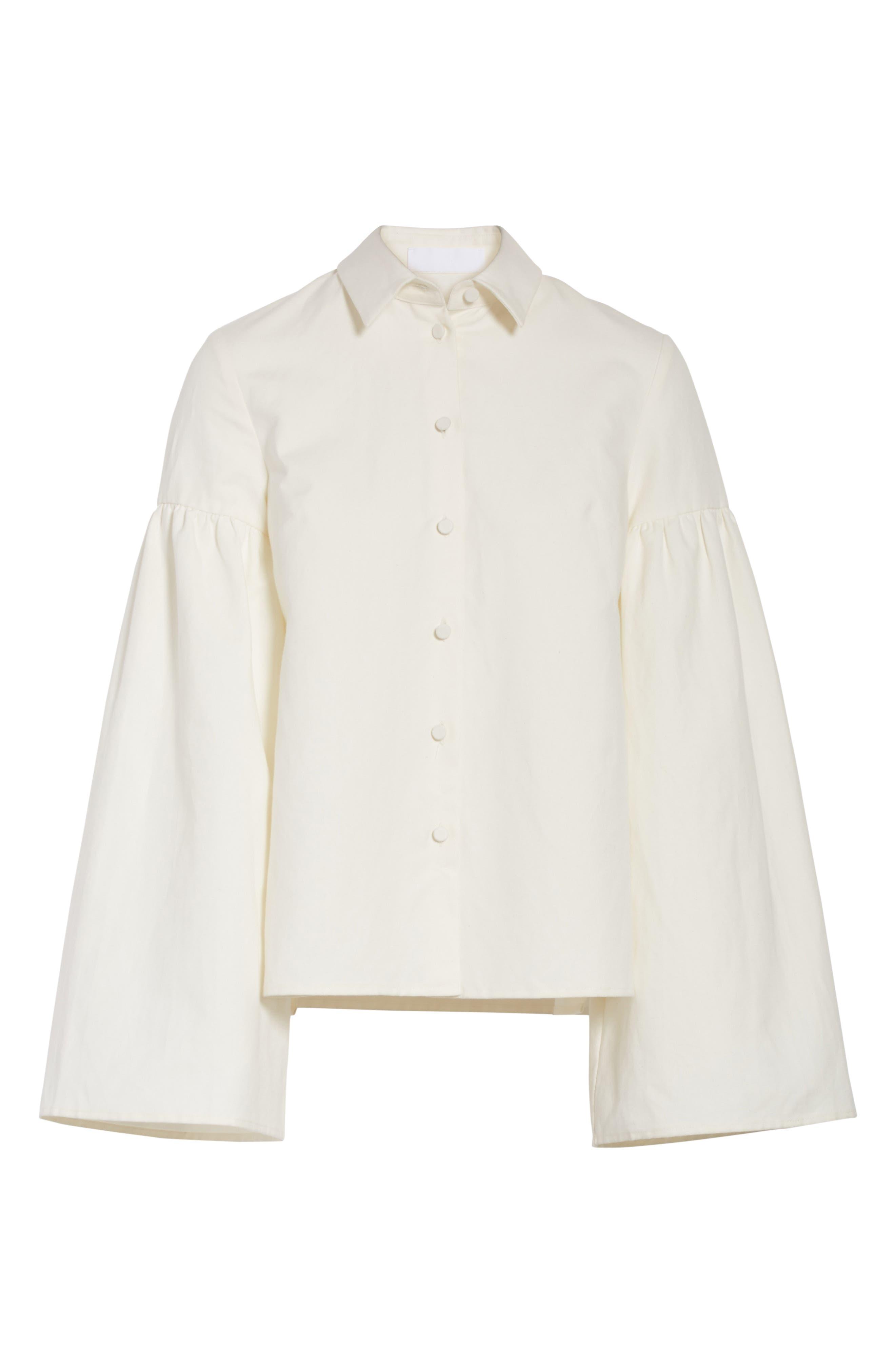 Linen & Cotton Puff Sleeve Top,                             Alternate thumbnail 6, color,                             900