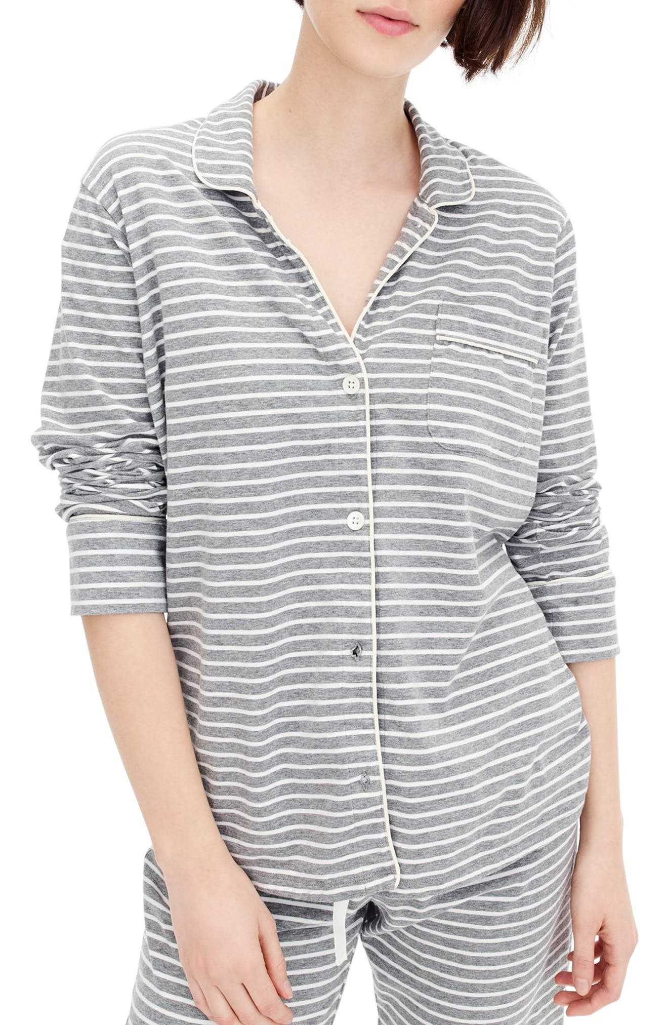 Dreamy Stripe Cotton Pajamas,                             Main thumbnail 1, color,                             HEATHER GRAPHITE IVORY