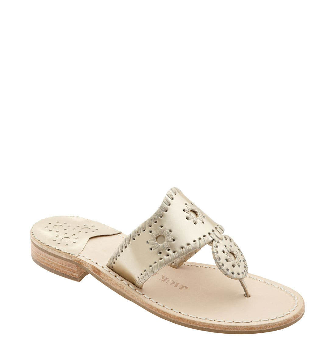 JACK ROGERS Palm Beach Whipstitch Thong Sandal in Platinum